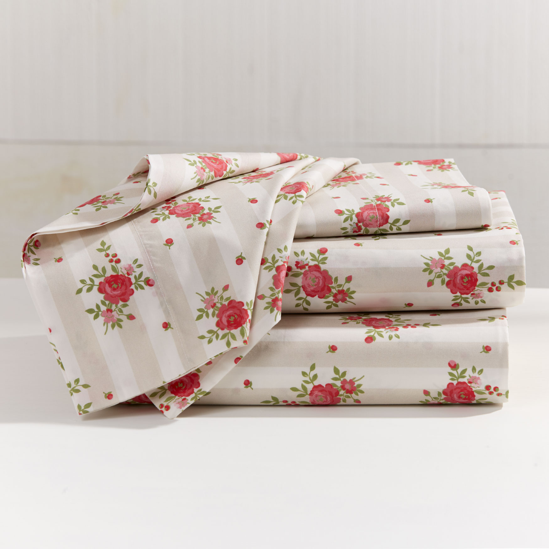 200-TC Percale Lines & Roses Sheet Set,