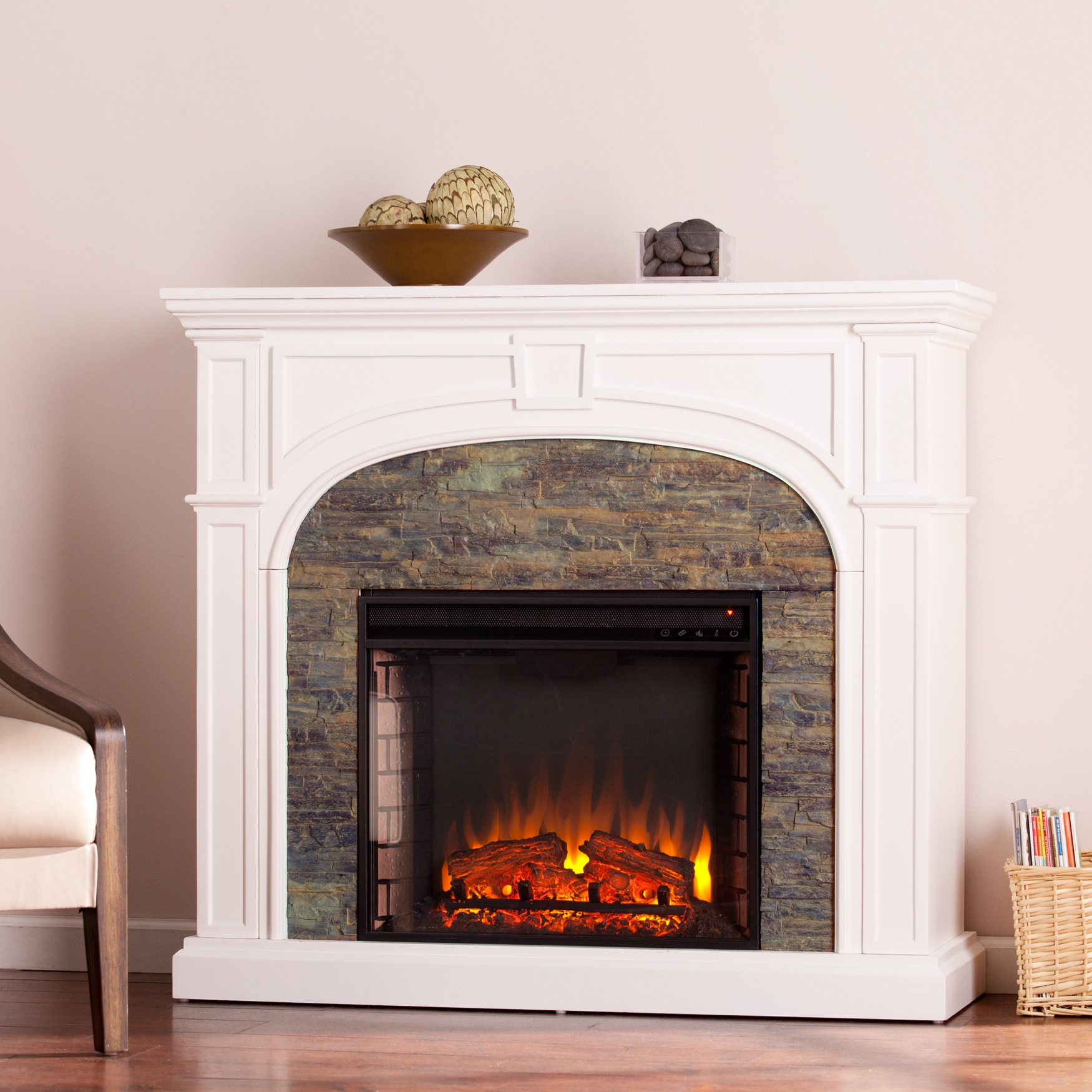 Tanaya Stacked Stone Effect Electric Fireplace, WHITE