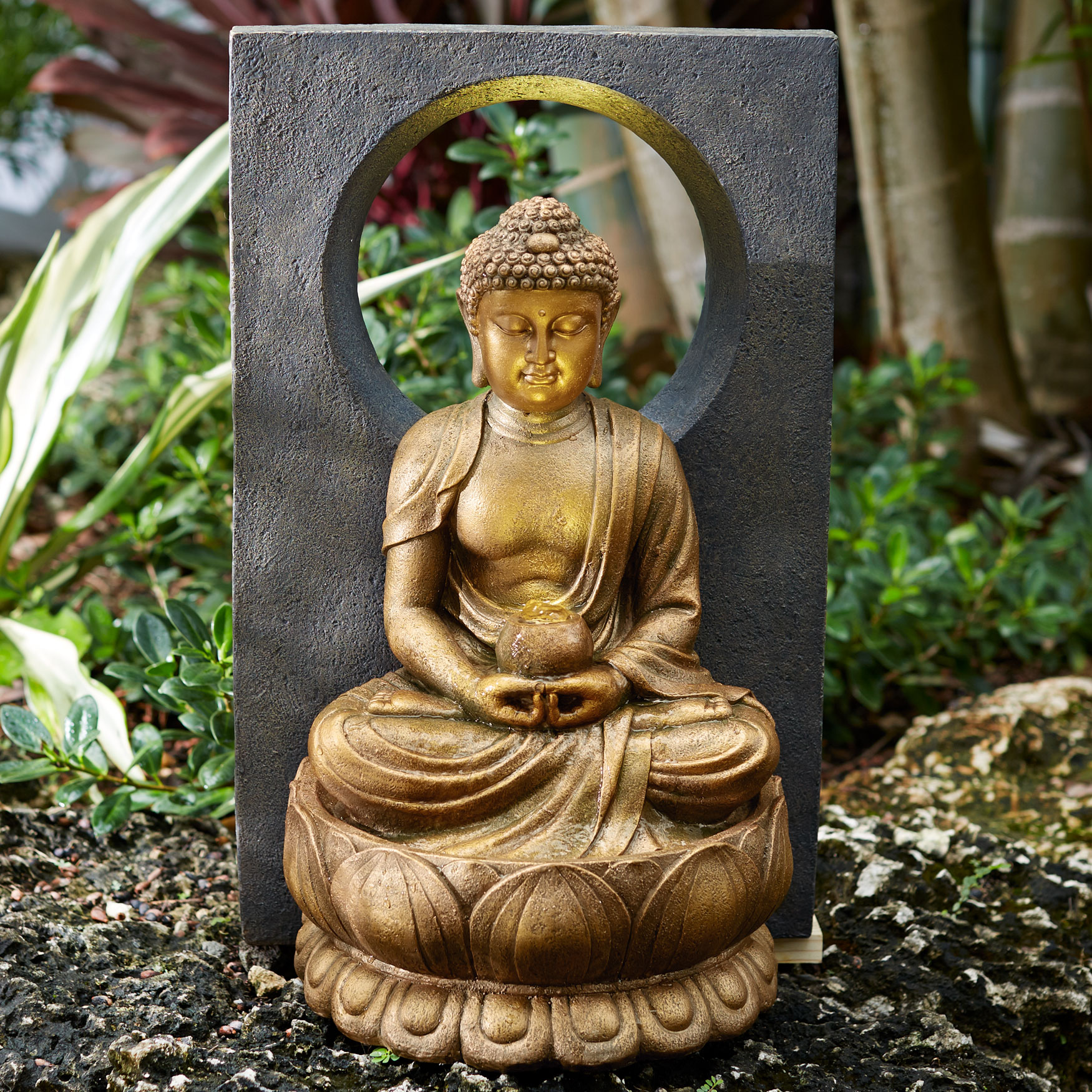 Buddha Fountain with LED Light, GOLD