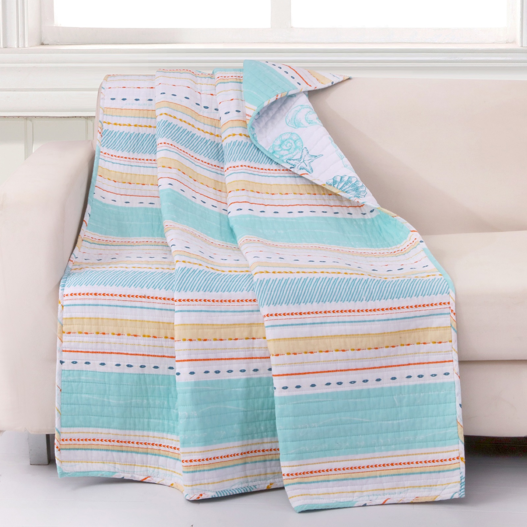 Barefoot Bungalow Pacifica Quilted Throw Blanket, AQUA