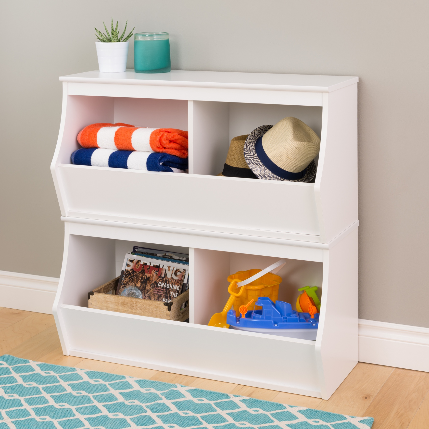Monterey Stacked 4-Bin Storage Cubbie, WHITE