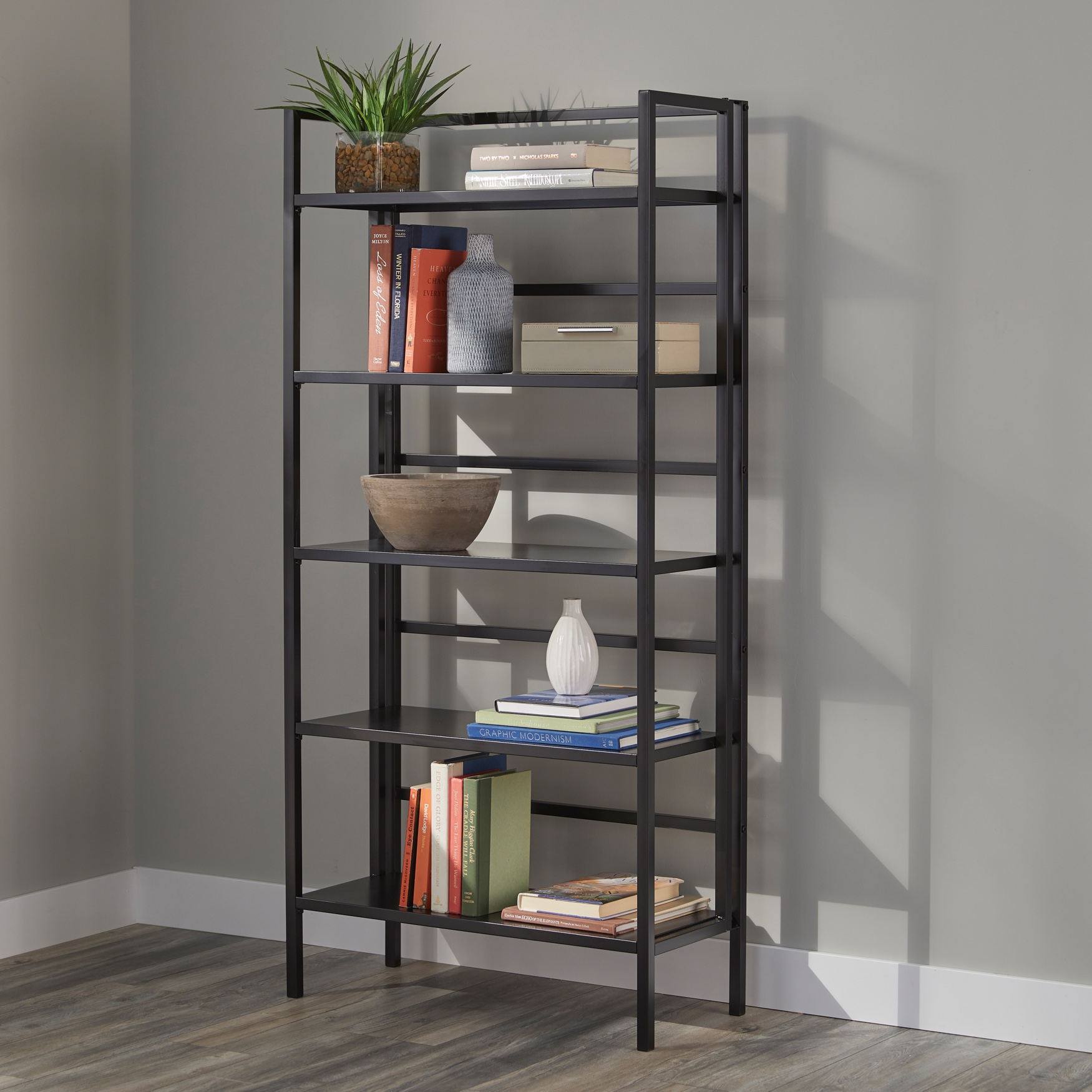 5-Tier Folded Metal Bookshelf, BLACK