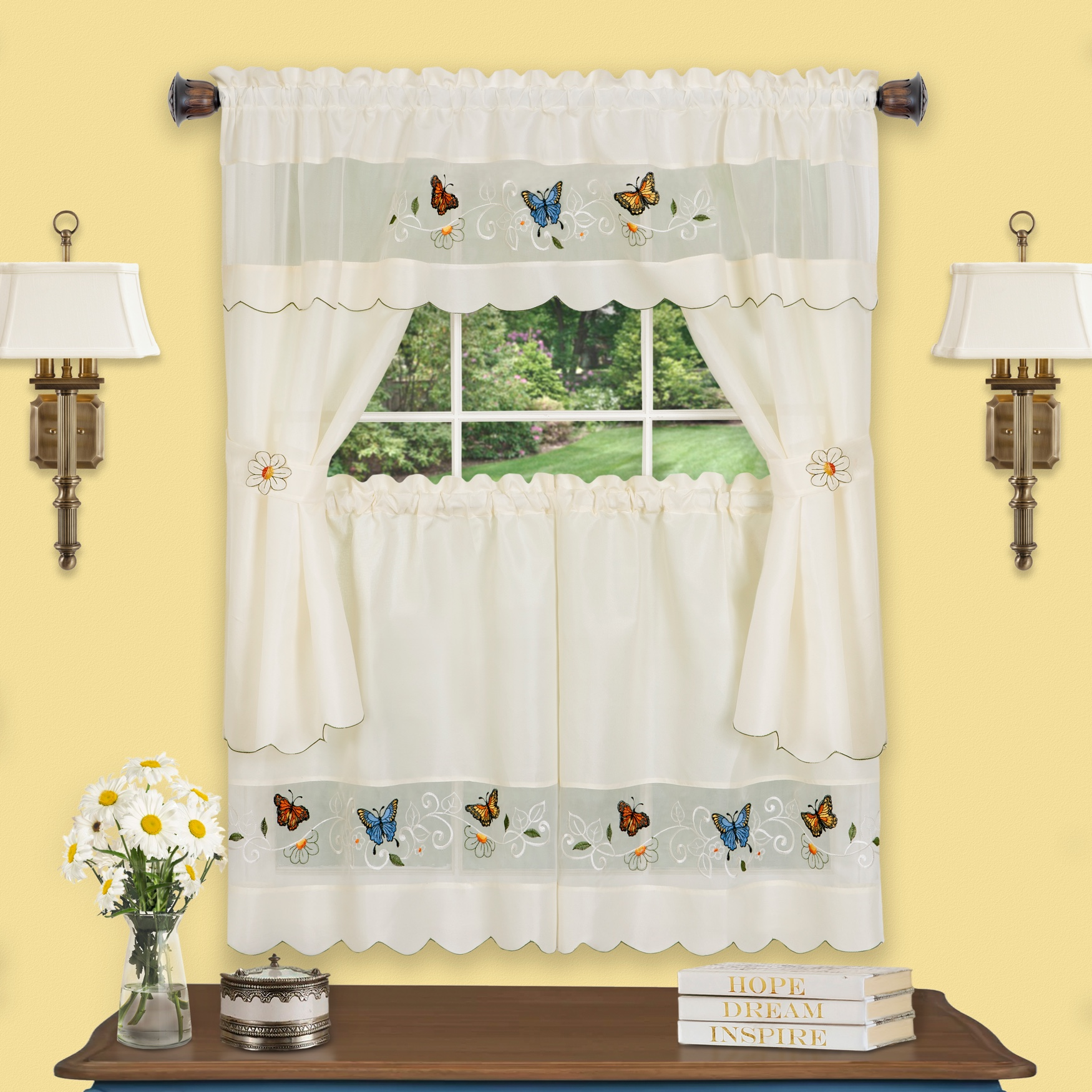 Daisy Meadow Embellished Cottage Window Curtain Set,