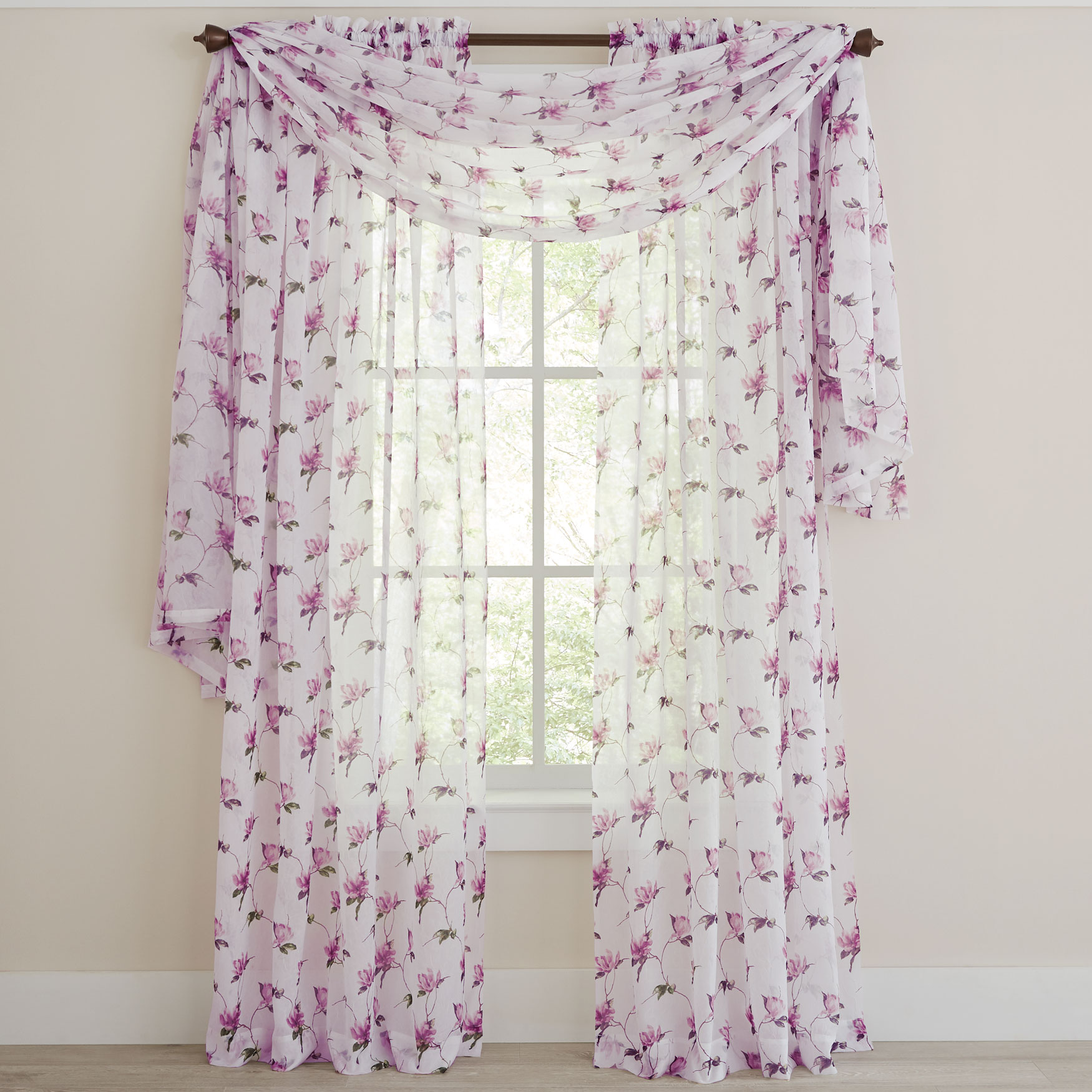 Chancellor Crushed Voile Scarf Valance, LILAC