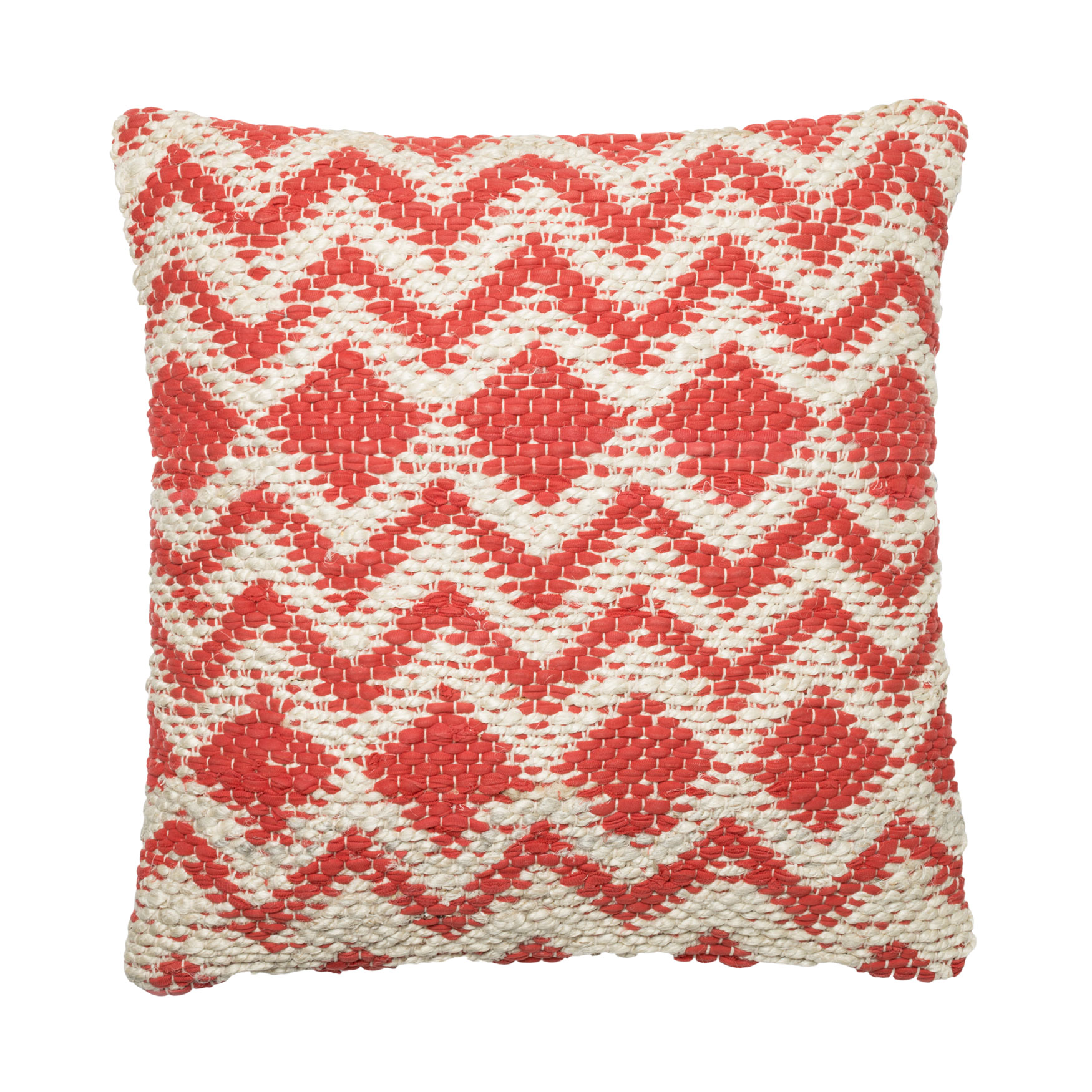 Woven Chevron And Diamond Coral Decorative Pillow, CORAL GREY