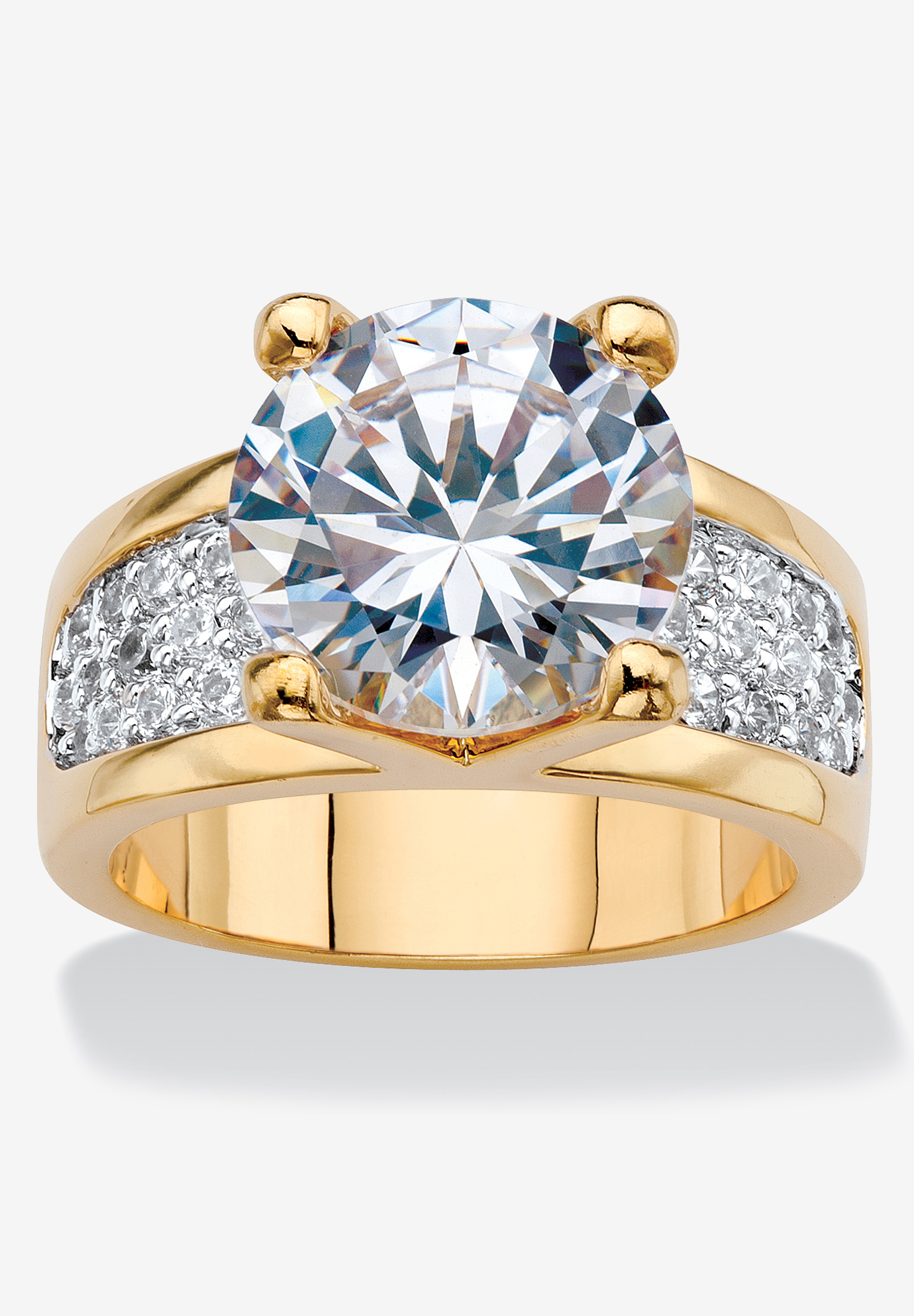 Yellow Gold-Plated Round Engagement Anniversary Ring Cubic Zirconia,