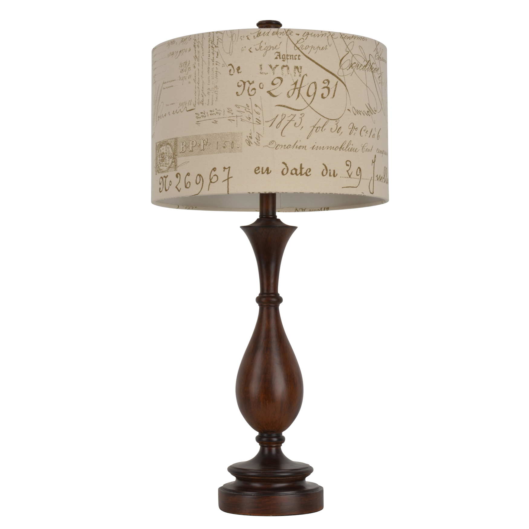 "29¼"" Wood and Script Table Lamp, WOOD TONE"