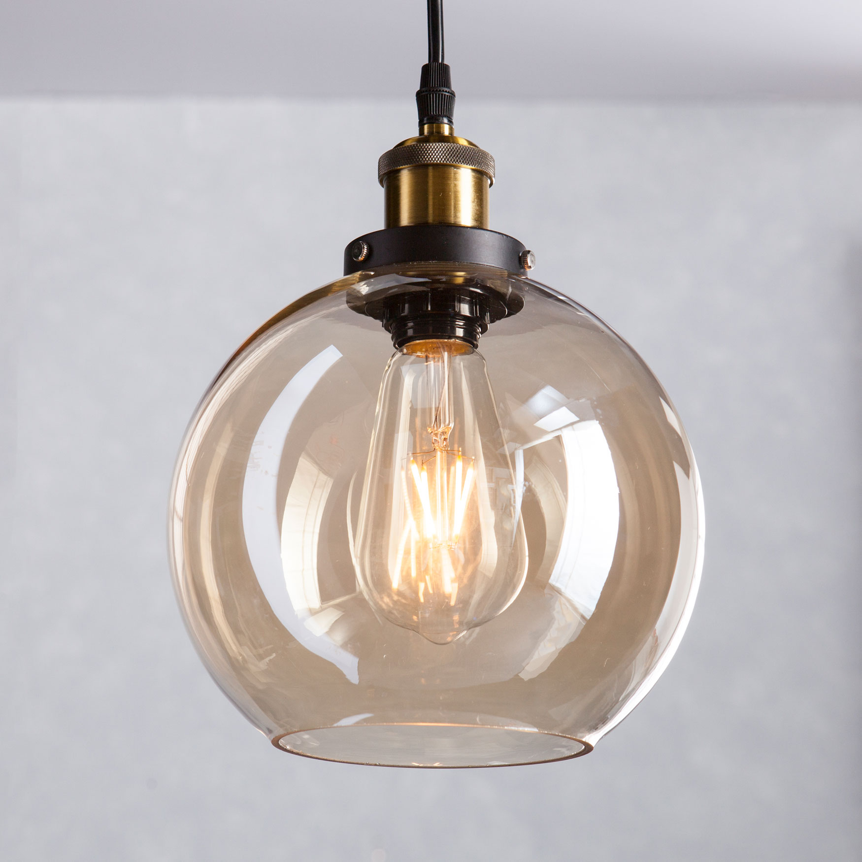 Mini Round Globe-Shaped Pendant Lamp, AMBER BLACK