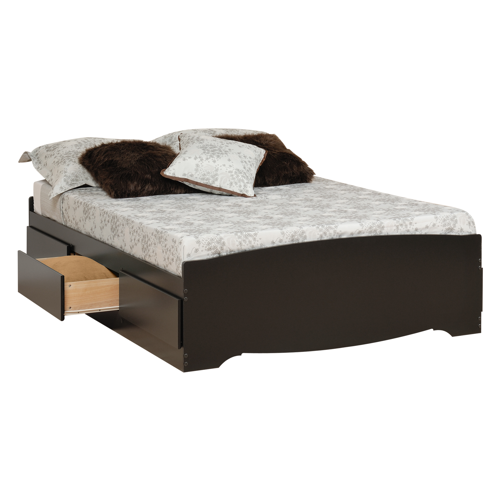 Prepac Sonoma Black Queen Platform Storage Bed 6 Drawers