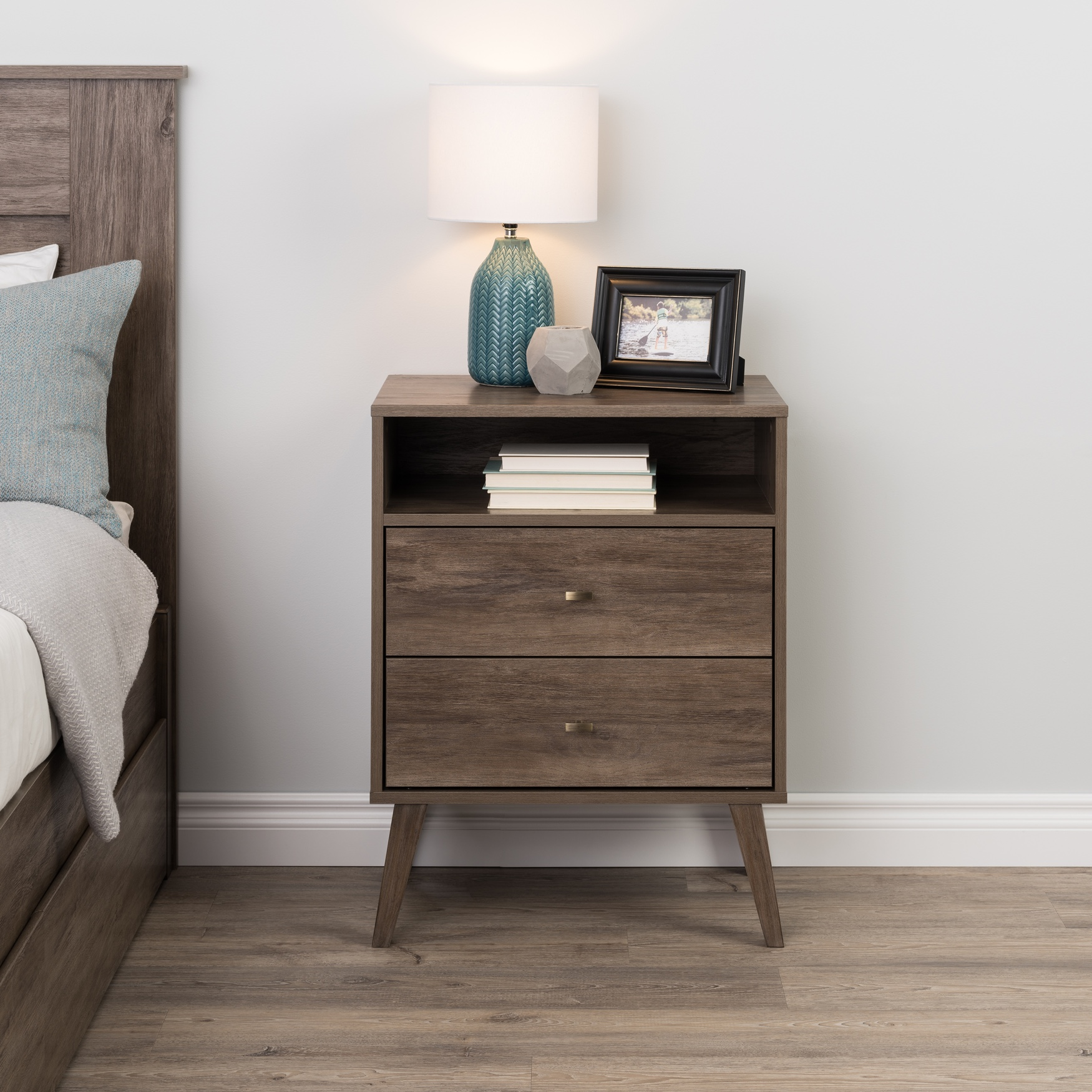 Milo 2-drawer Tall Nightstand with Open Shelf,