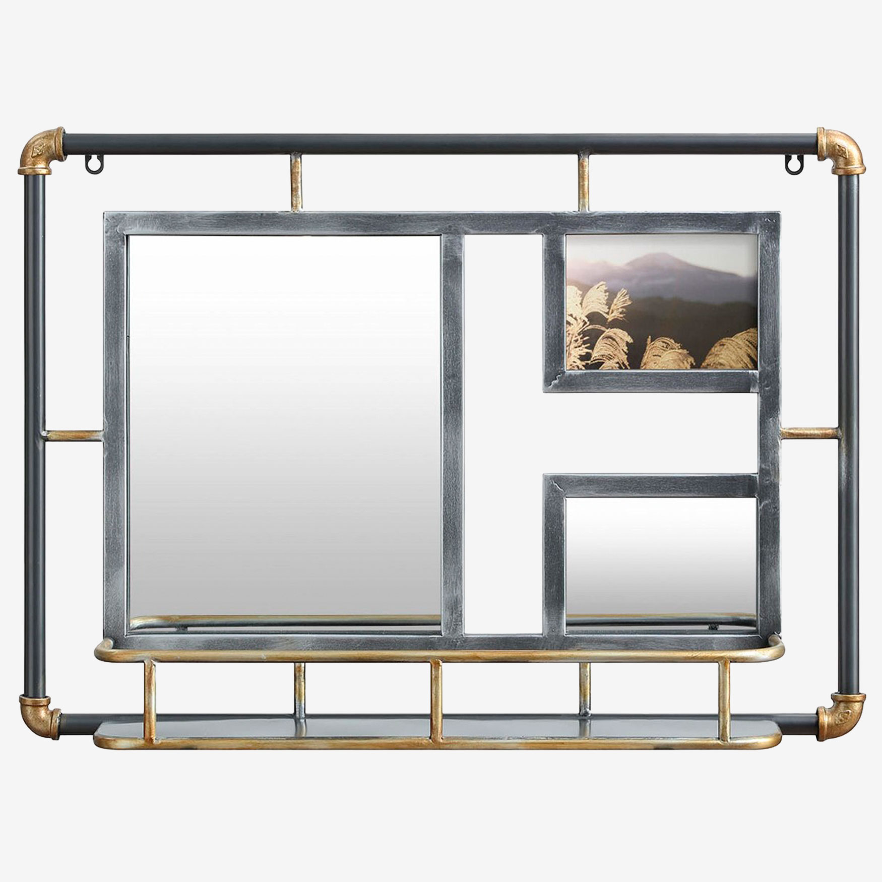 Systems Piping Mirror with Frame, RUSTIC GRAY