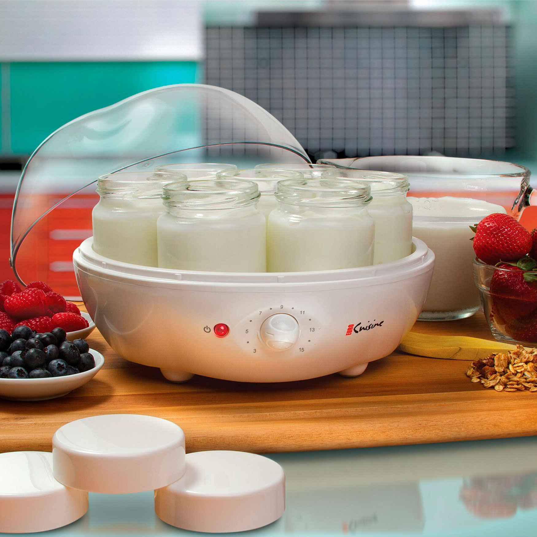 Euro Cuisine Electric Automatic Yogurt Maker with 7 Glass Jars, WHITE