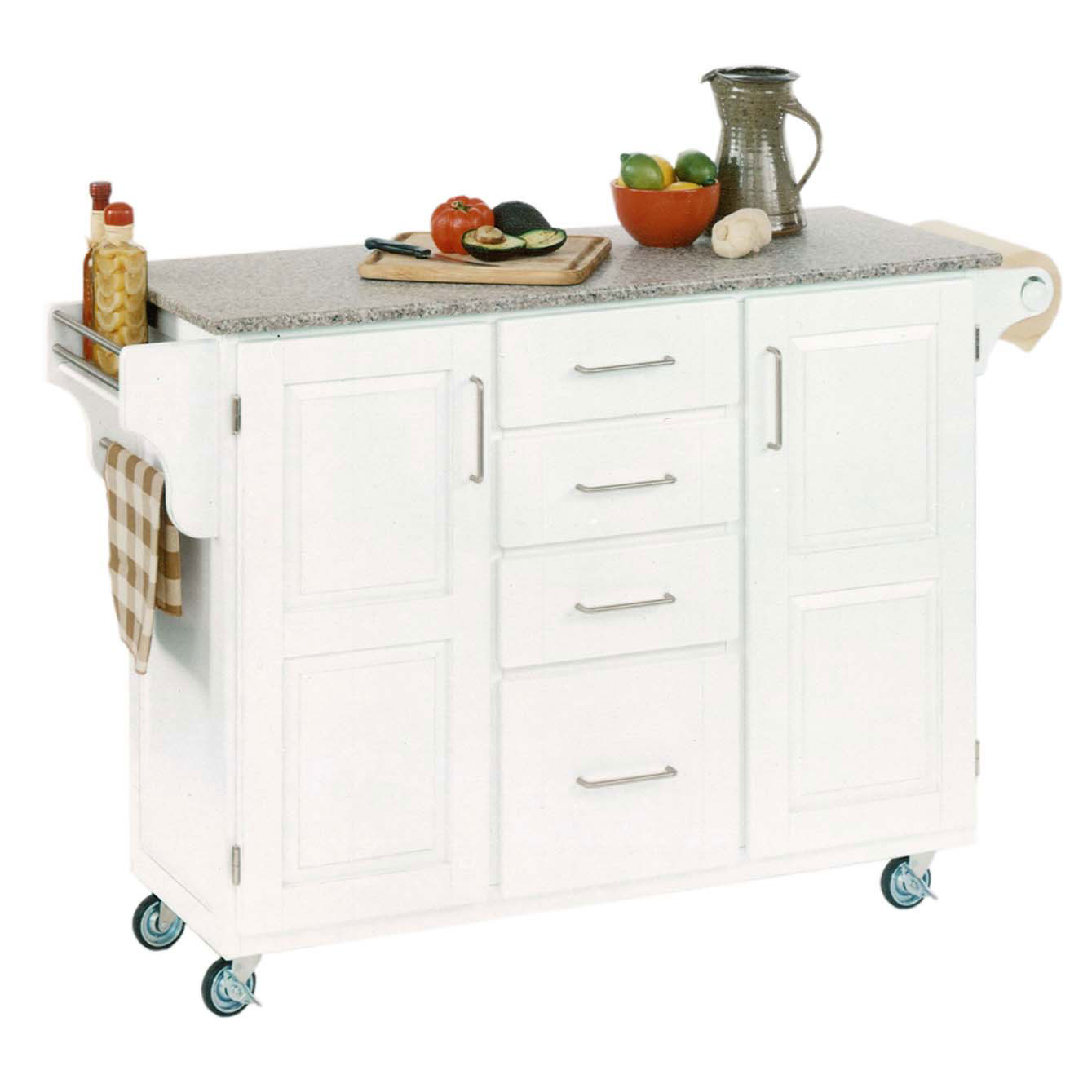 Large White Finish Create a Cart with Salt & Pepper Granite Top , WHITE SALT WATER DIVE PEPPER