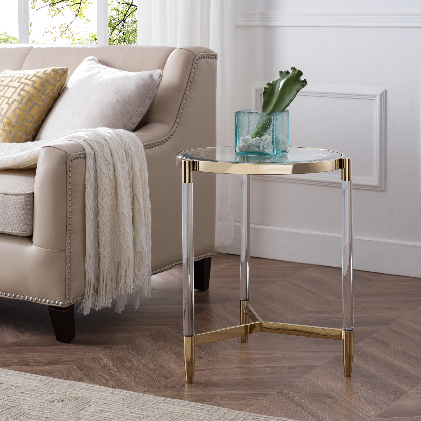 Covel Acrylic End Table, GOLD
