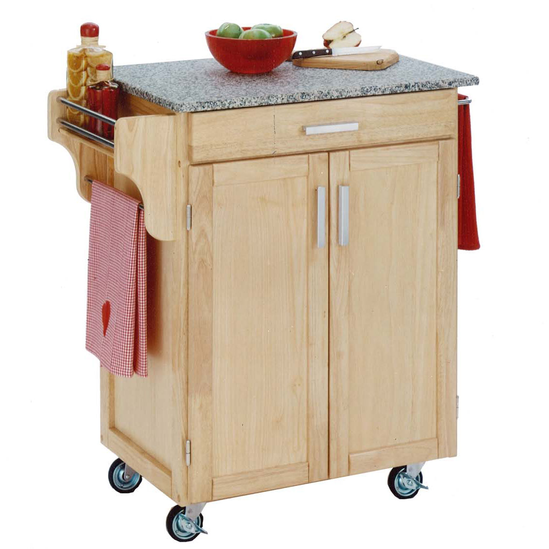 Natural Wood Cuisine Kitchen Cart with Salt & Pepper Granite Top, NATURAL SALT WATER DIVE PEPPER