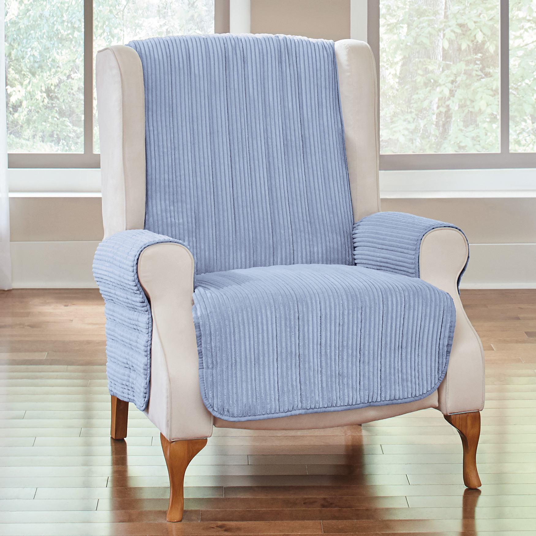 Reversible Plush Stripe Recliner Protector, LIGHT BLUE