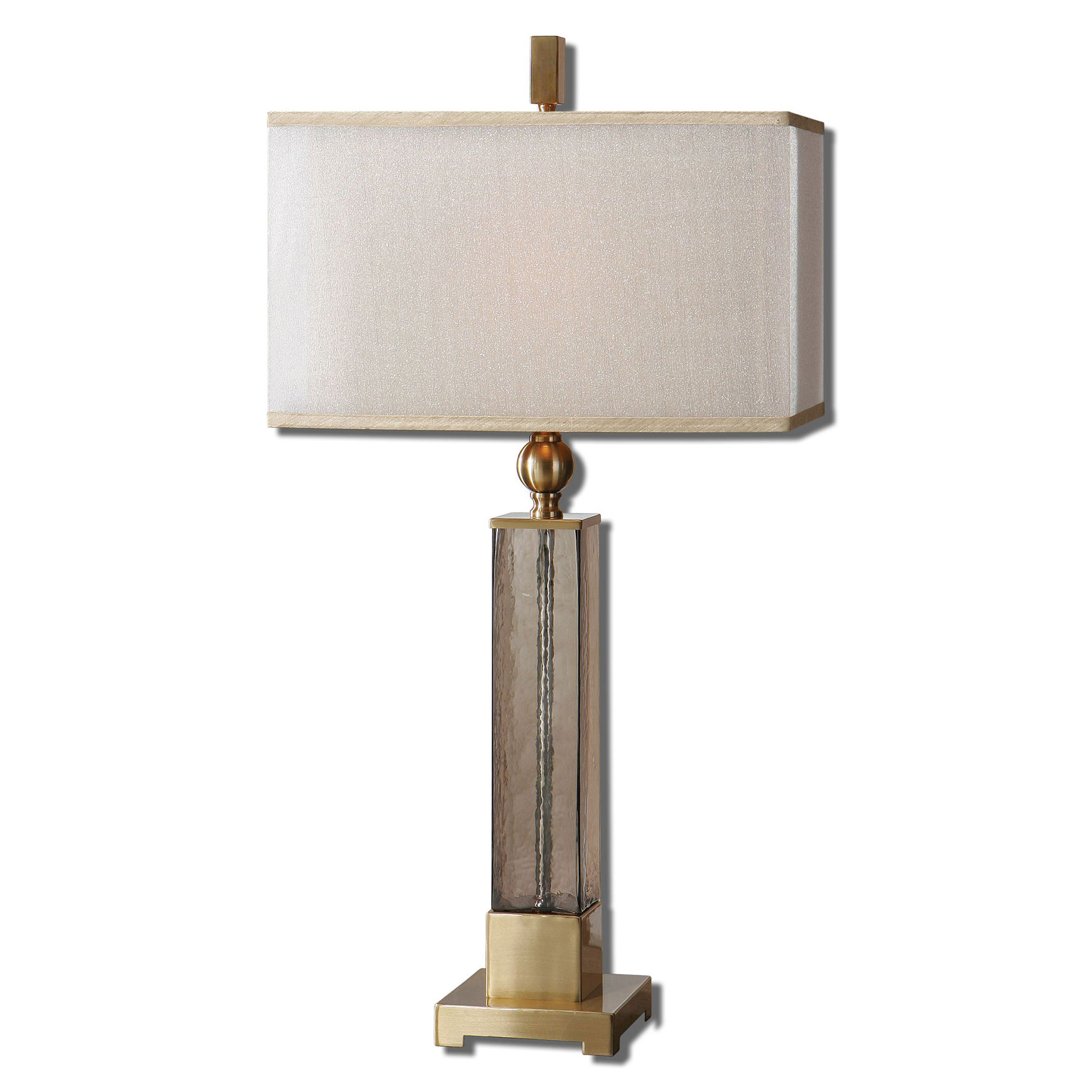 Caecilia Amber Glass Table Lamp, BRASS