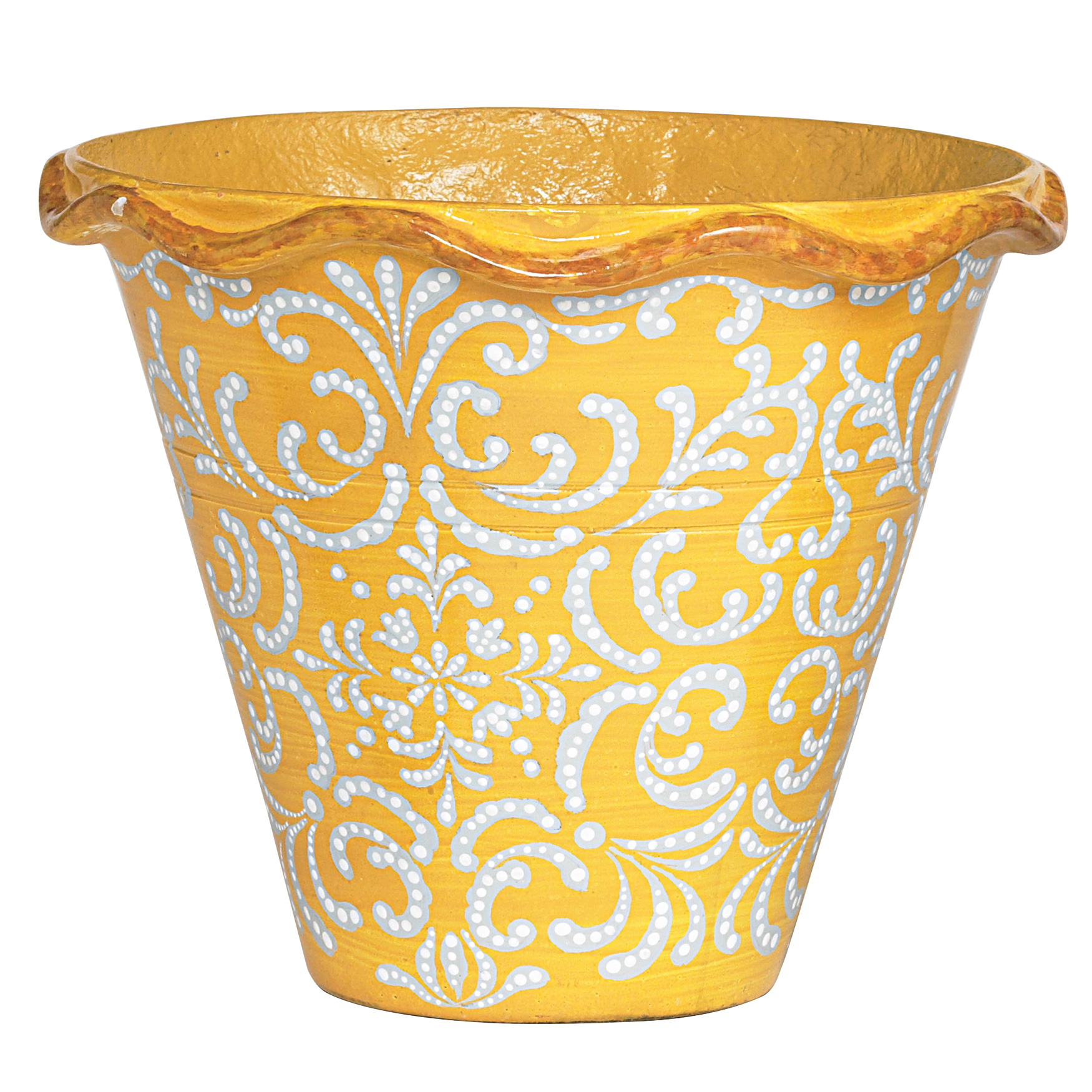 Mazie Hand Painted Planter, YELLOW