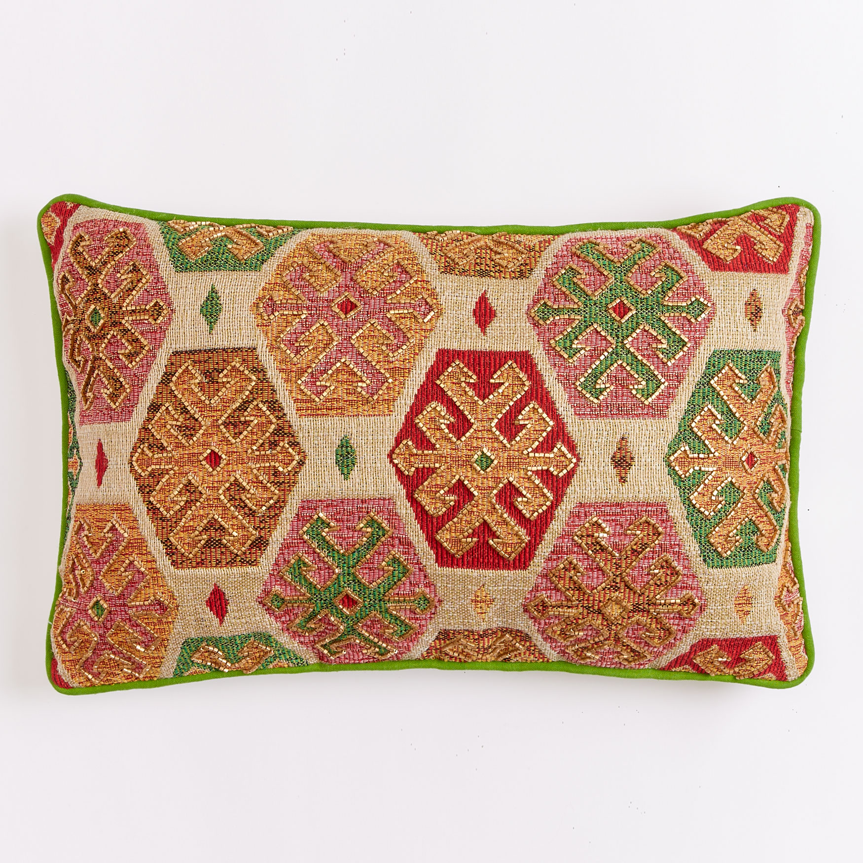 "14"" x 22"" Beaded Geo Pillow, MULTI"