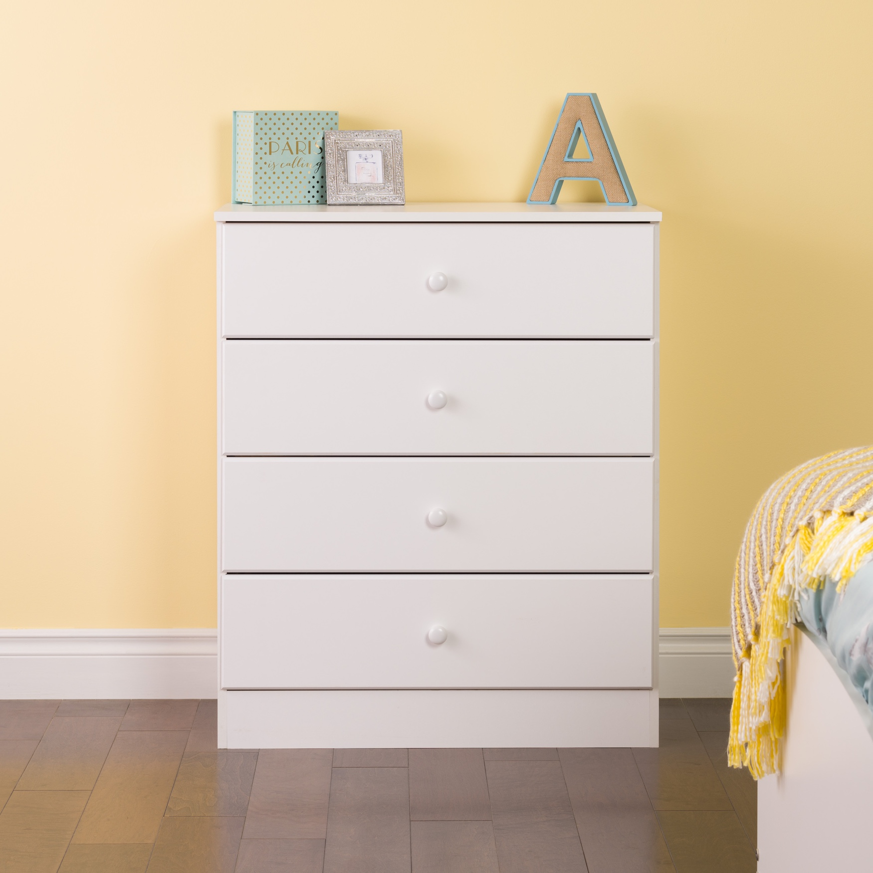 Astrid 4-Drawer Dresser with Acrylic Knobs, White, WHITE