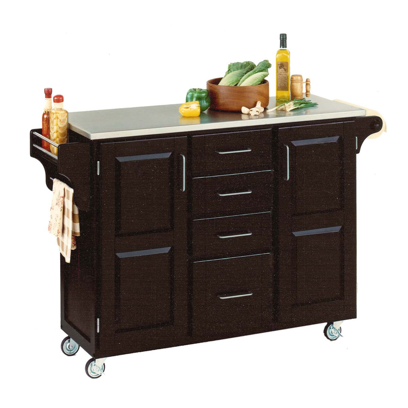 Large Black Finish Create a Cart with Stainless Steel Top, BLACK STAINLESS STEEL