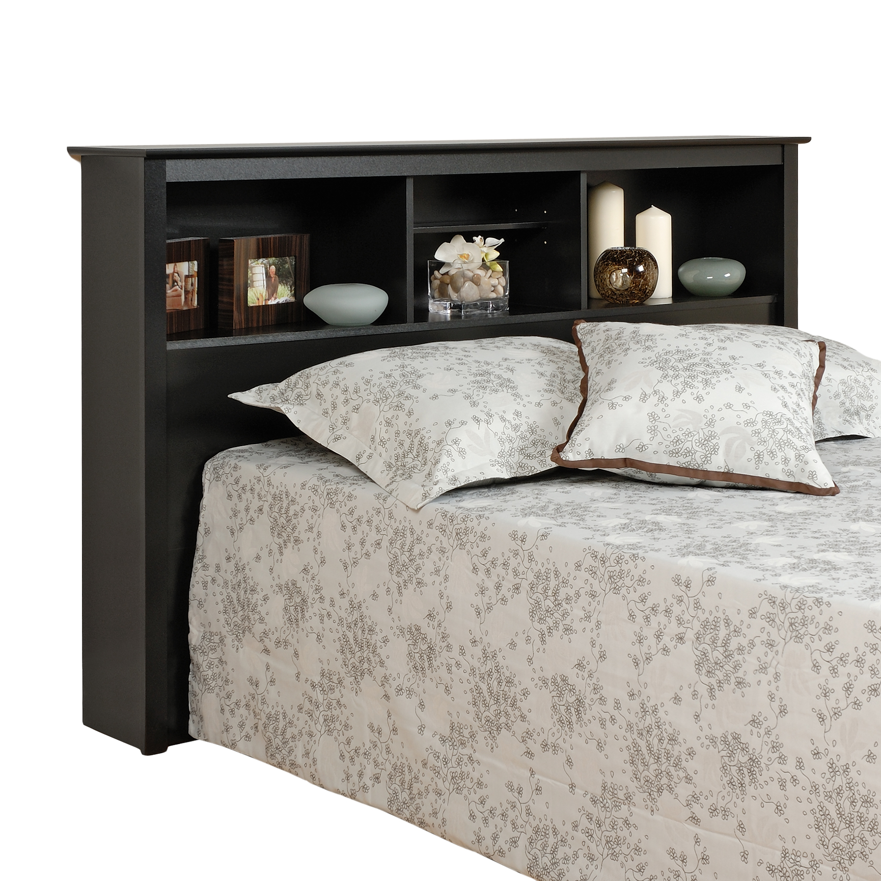 Sonoma Black Double / Queen Storage Headboard, BLACK