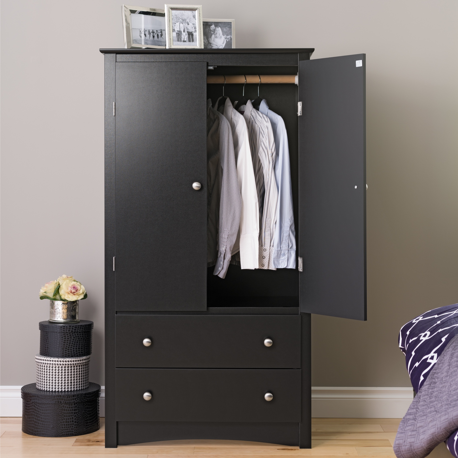 Sonoma 2-Door Armoire, Black, BLACK