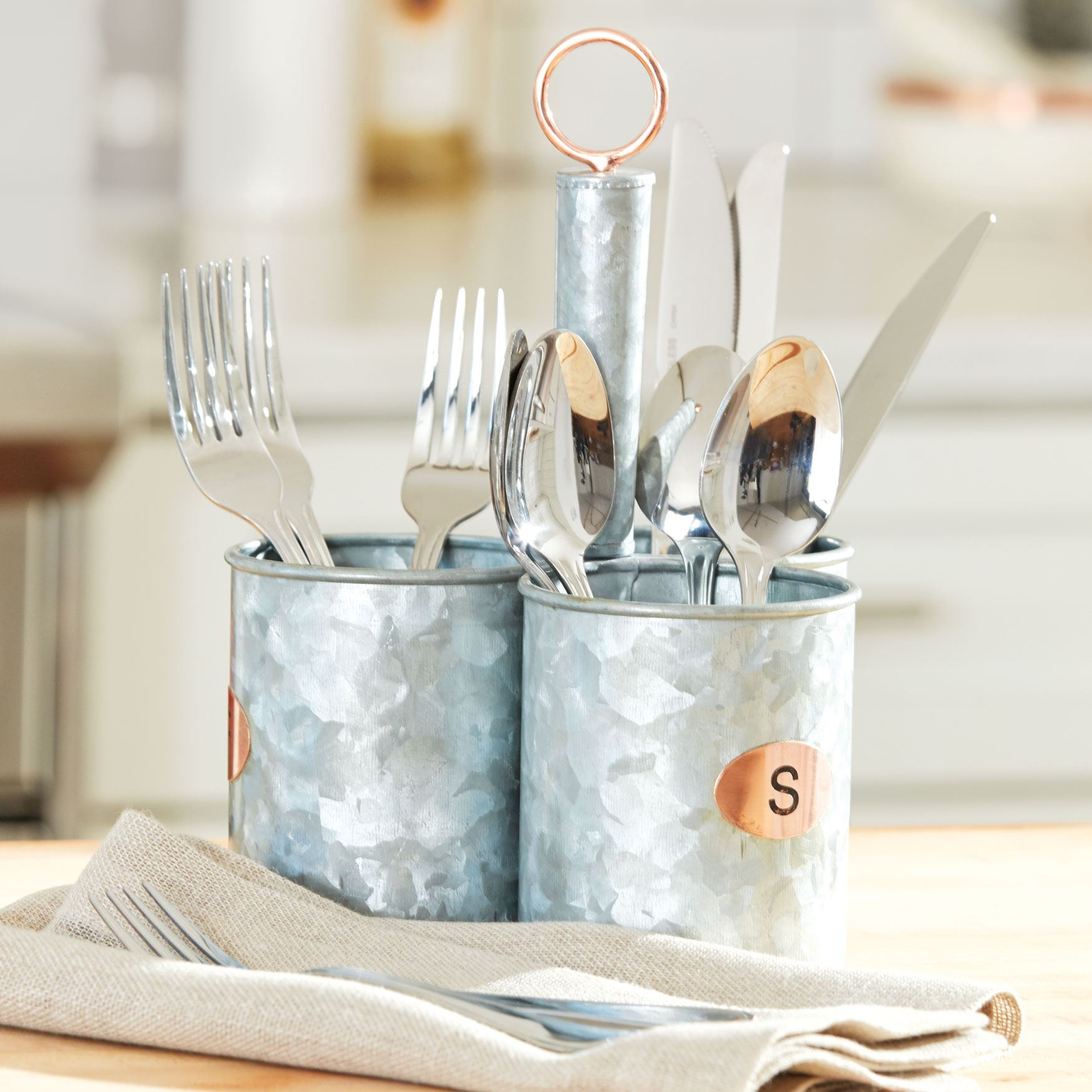 Galvanized Metal 3-Section Flatware Caddy, SILVER COPPER