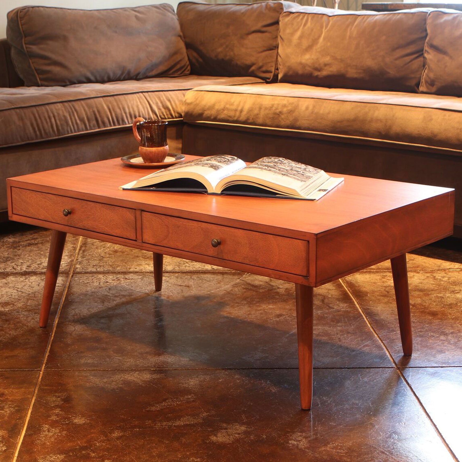 Mid-Century 2-Drawer Coffee Table, WALNUT
