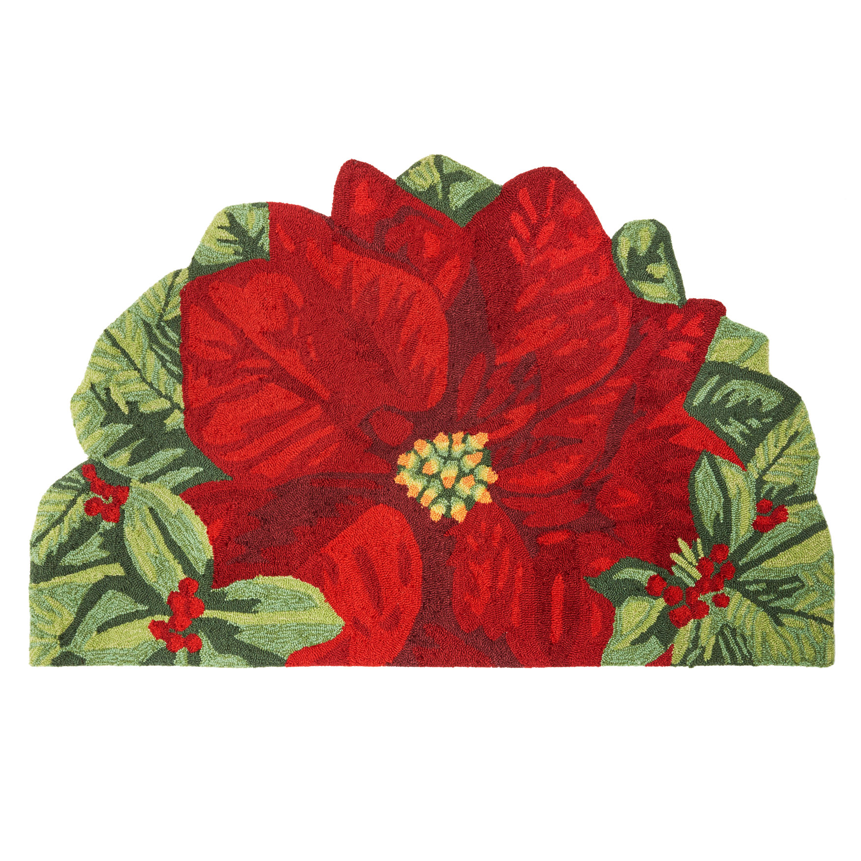 Small Half-Round Poinsettia Mat, MULTI