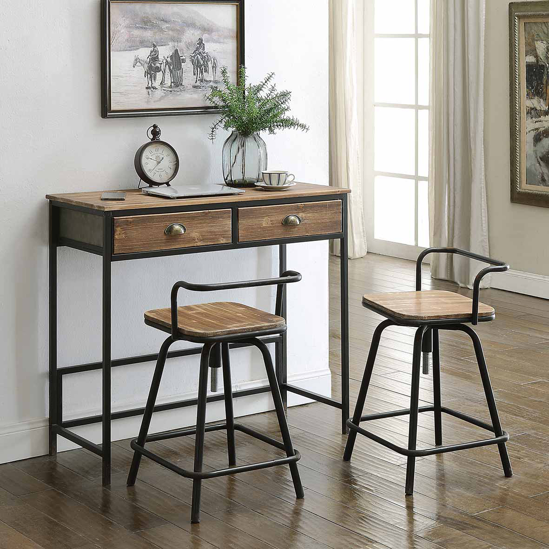 Urban Loft Breakfast Table with 2 Swivel Stools by 4D Concepts, NATURAL WOOD