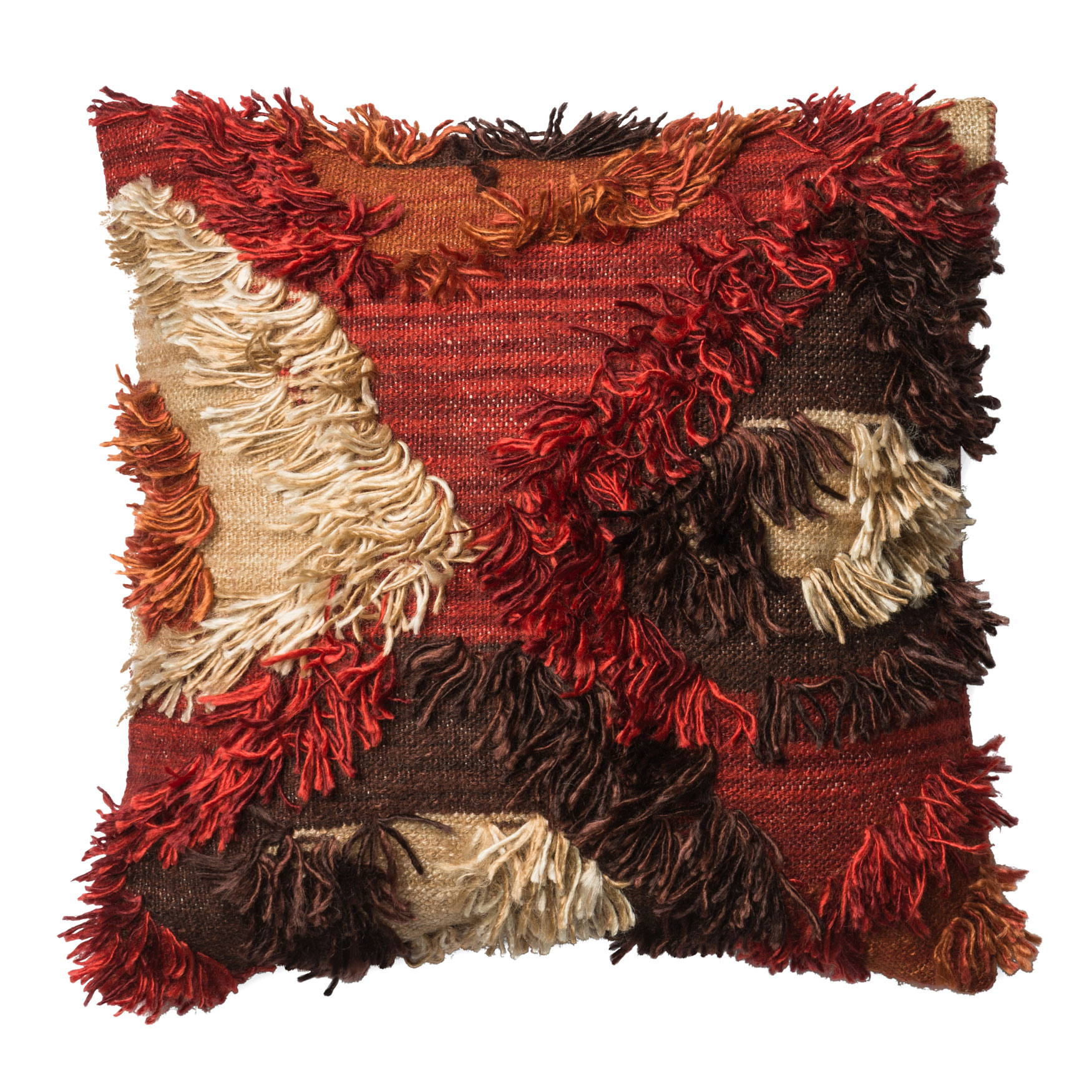 Shaggy Bohemian Fire Decorative Pillow, SPICE