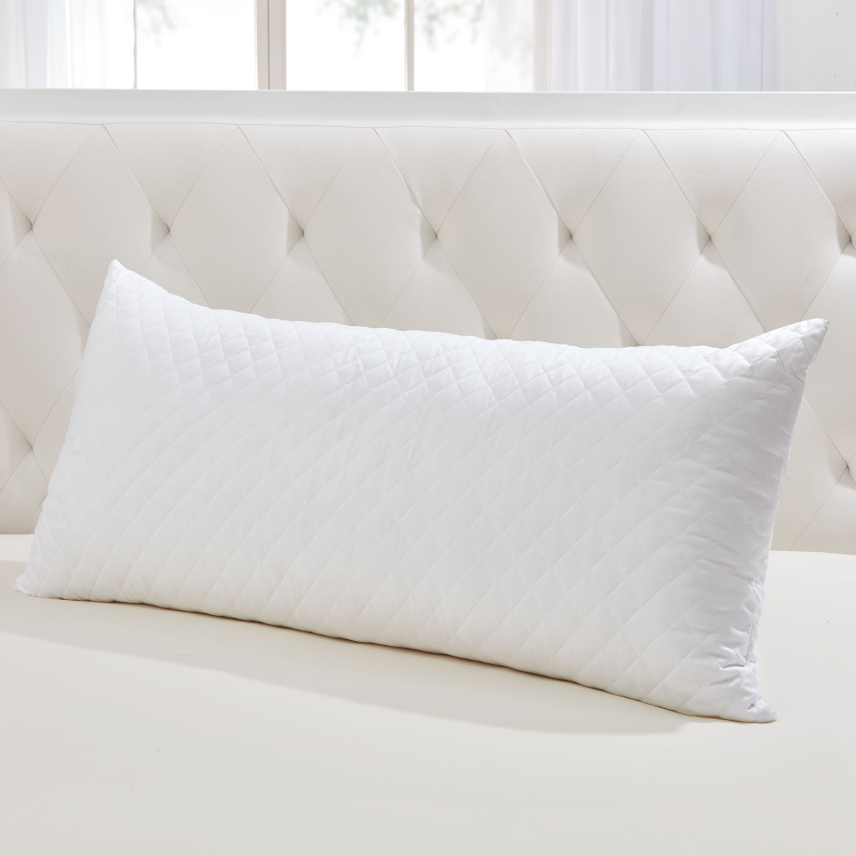 Quilted Body Pillow, WHITE