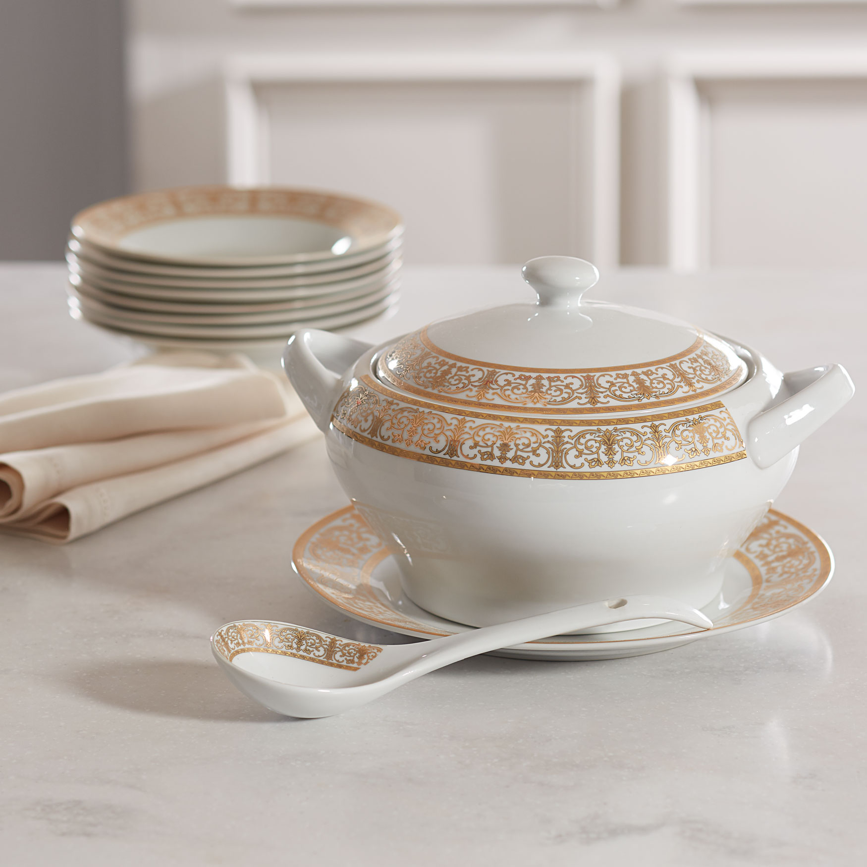 Medici 4-Pc. Porcelain Soup Tureen Set, GOLD WHITE