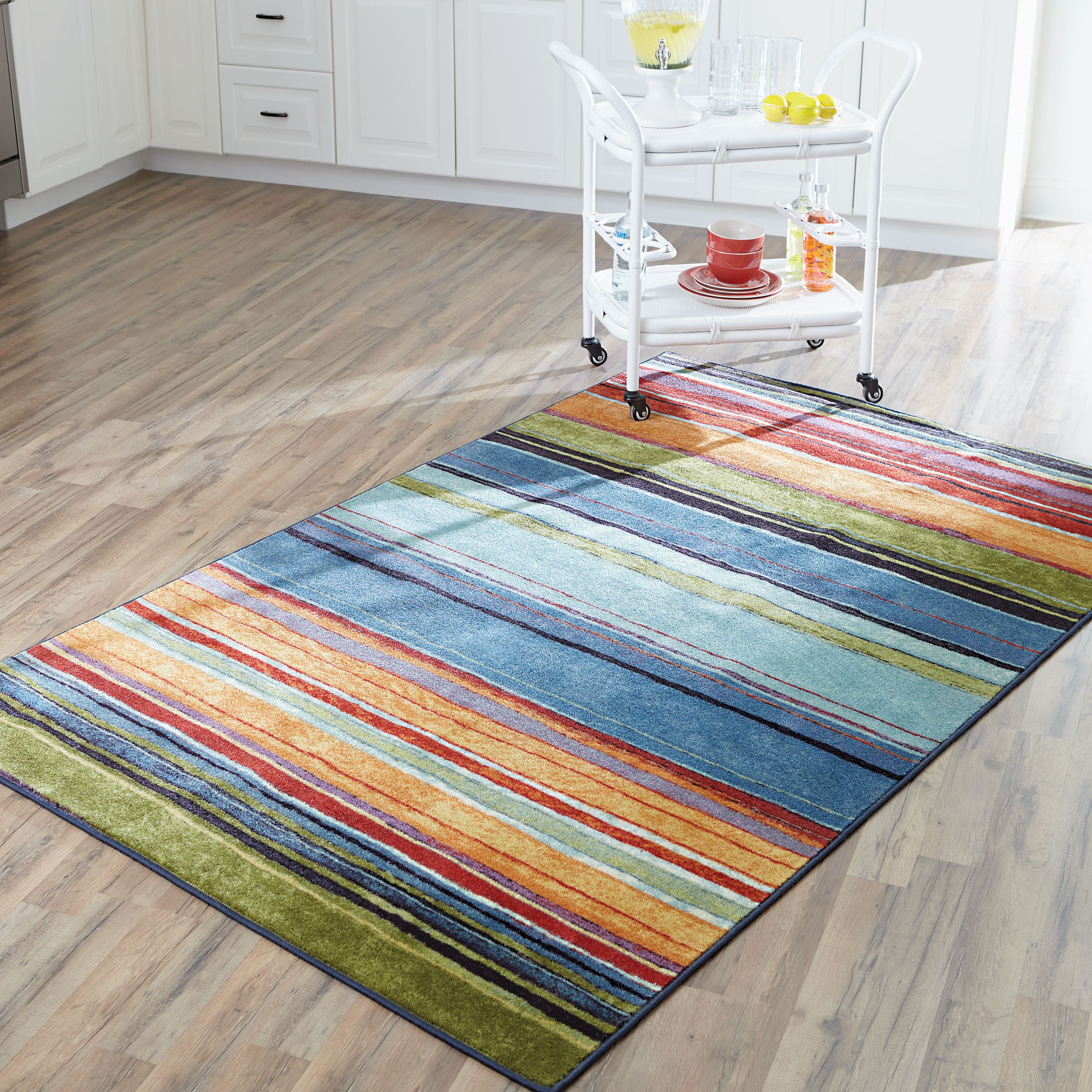 Large Rainbow Stripe Rug , MULTI