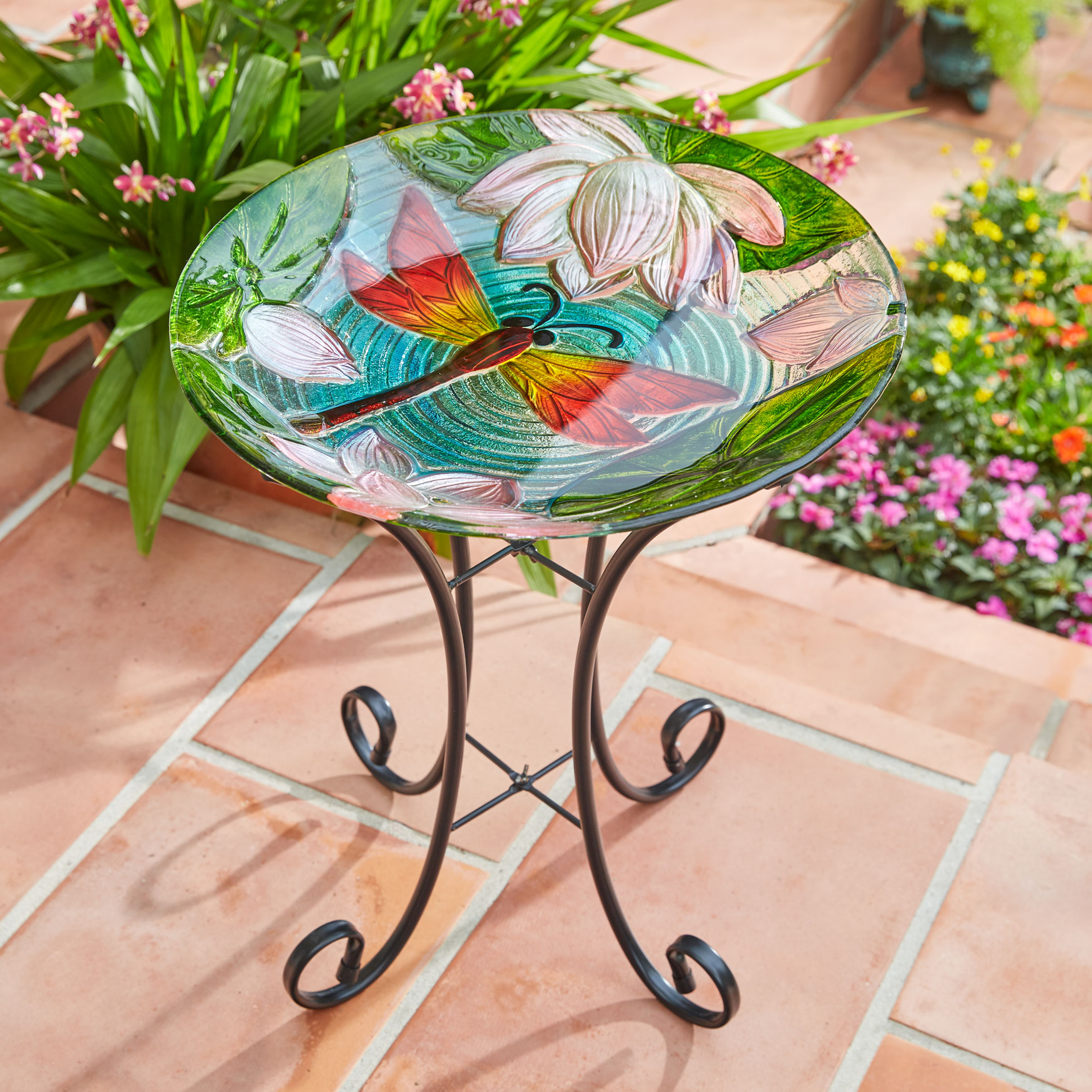 Dragonfly Painted Glass Birdbath, MULTI