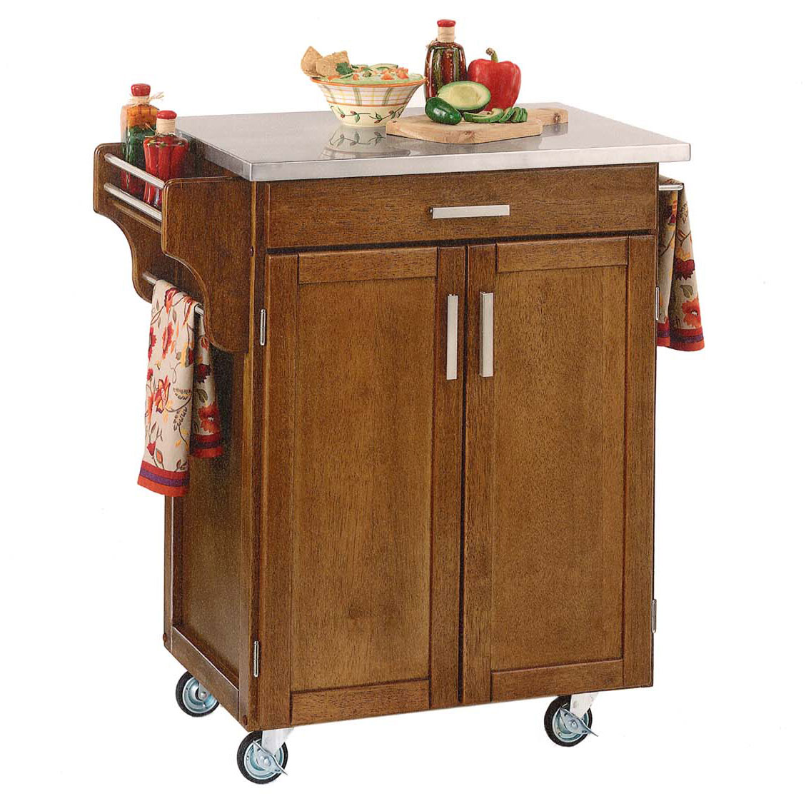 Cottage Oak Finish Create a Cart with Stainless Steel Top , OAK STAINLESS STEEL