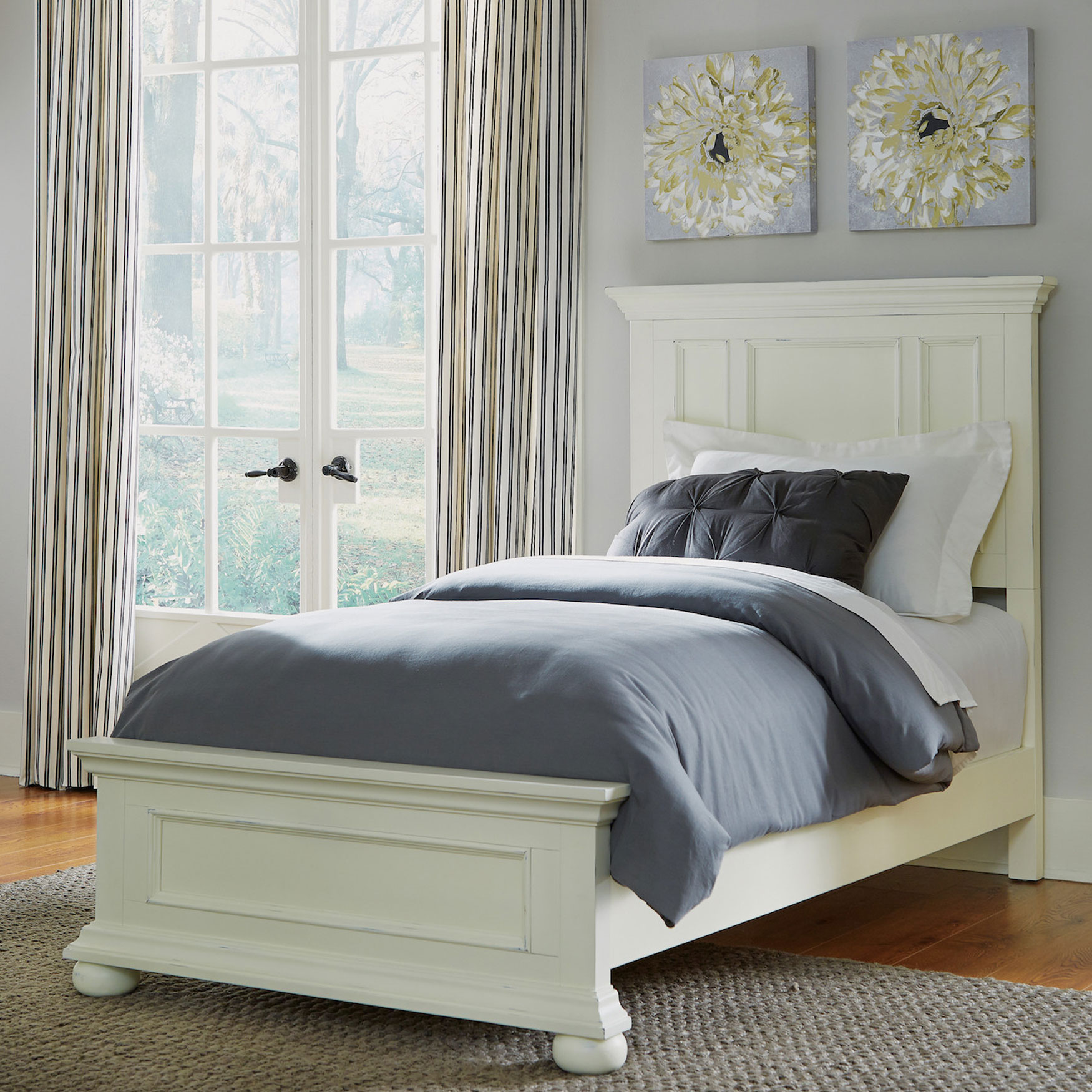 Dover White Twin Bed, WHITE