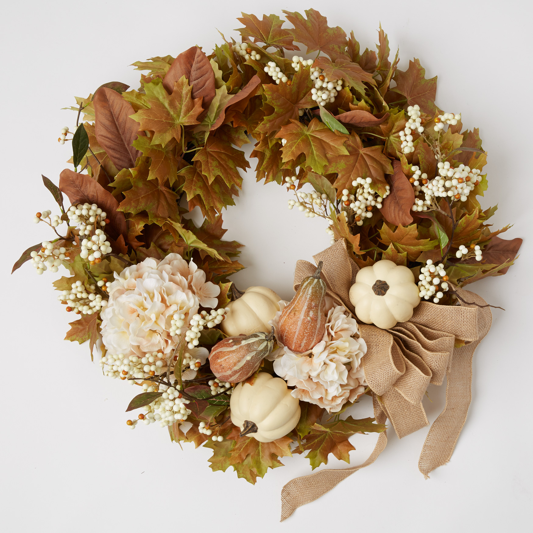 "Napa Harvest Floral 24"" Wreath, IVORY"