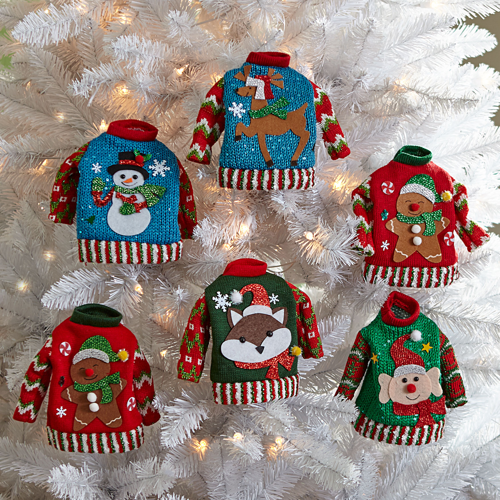 Sweater Ornaments, Set of 6, MULTI