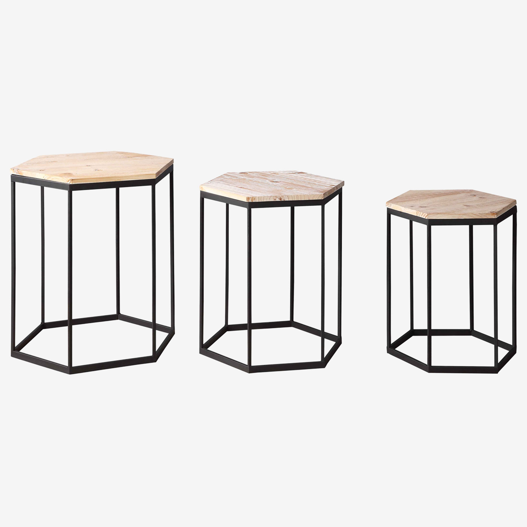 Layton Set of 3 Nesting Sextagon Tables, BLACK METAL