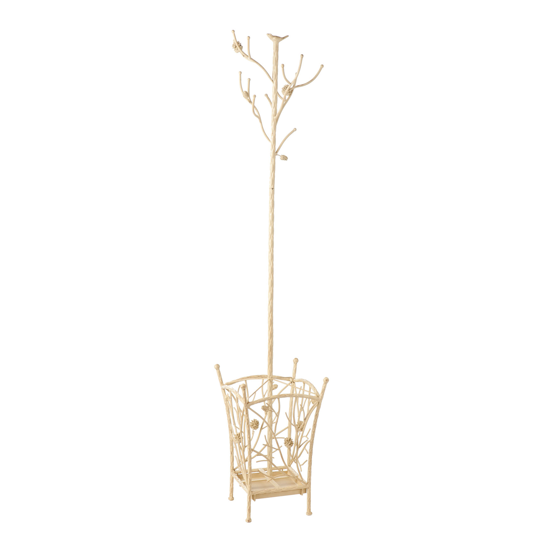 Bird and Branch Antique Metal Hall Tree, FRENCH VANILLA