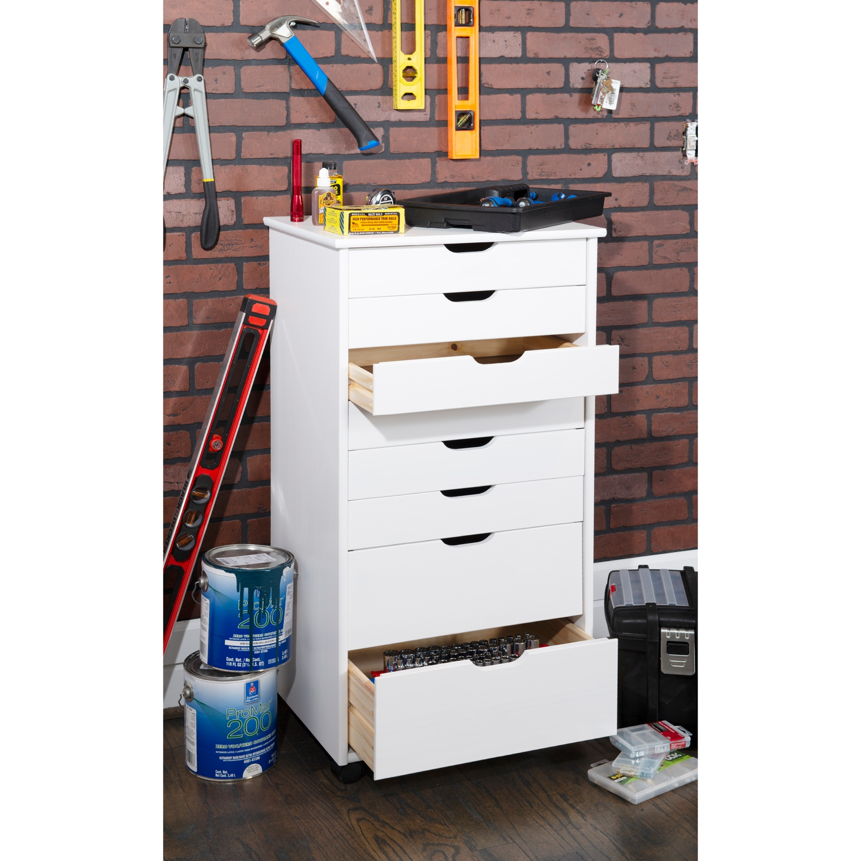 Cary Eight Drawer Rolling Storage Cart,