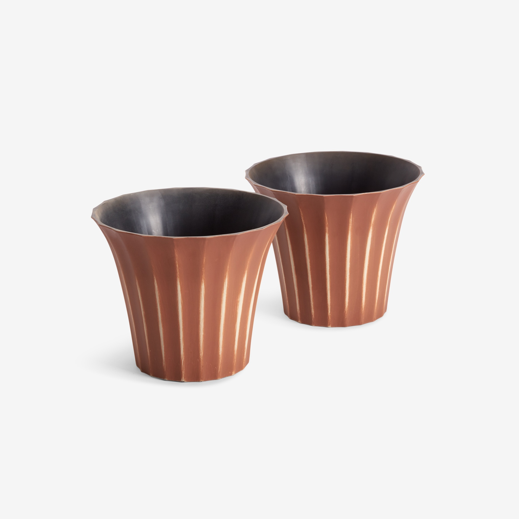 Set of 2 Small Fluted Planters,