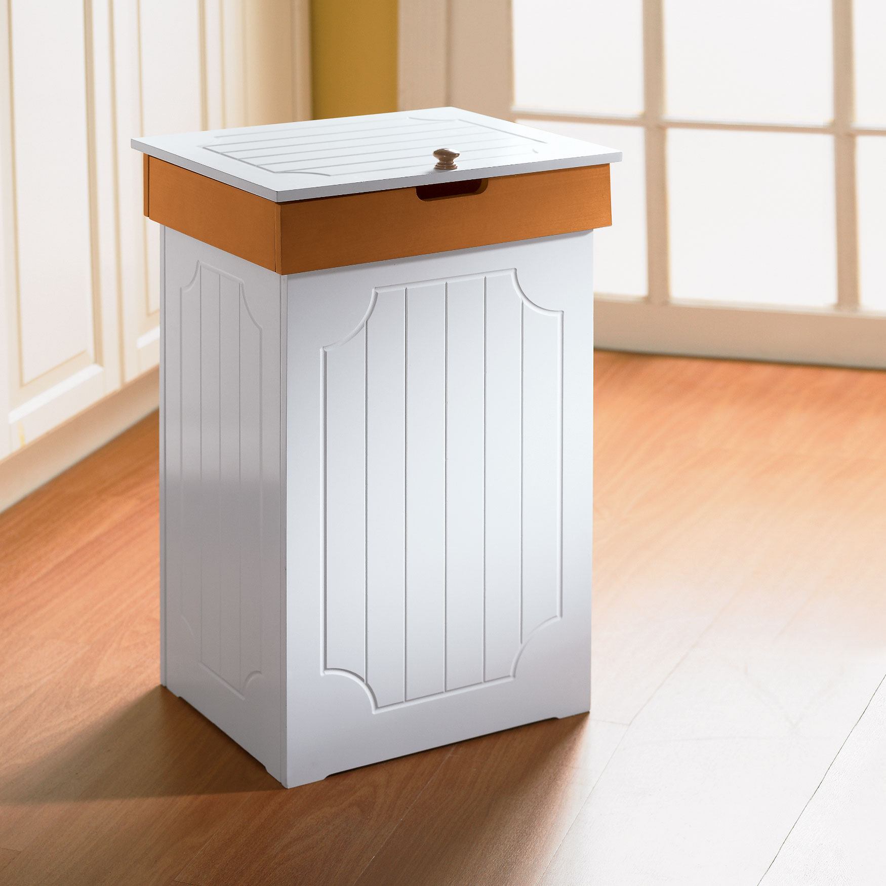 Country Kitchen Trash Can, WHITE HONEY
