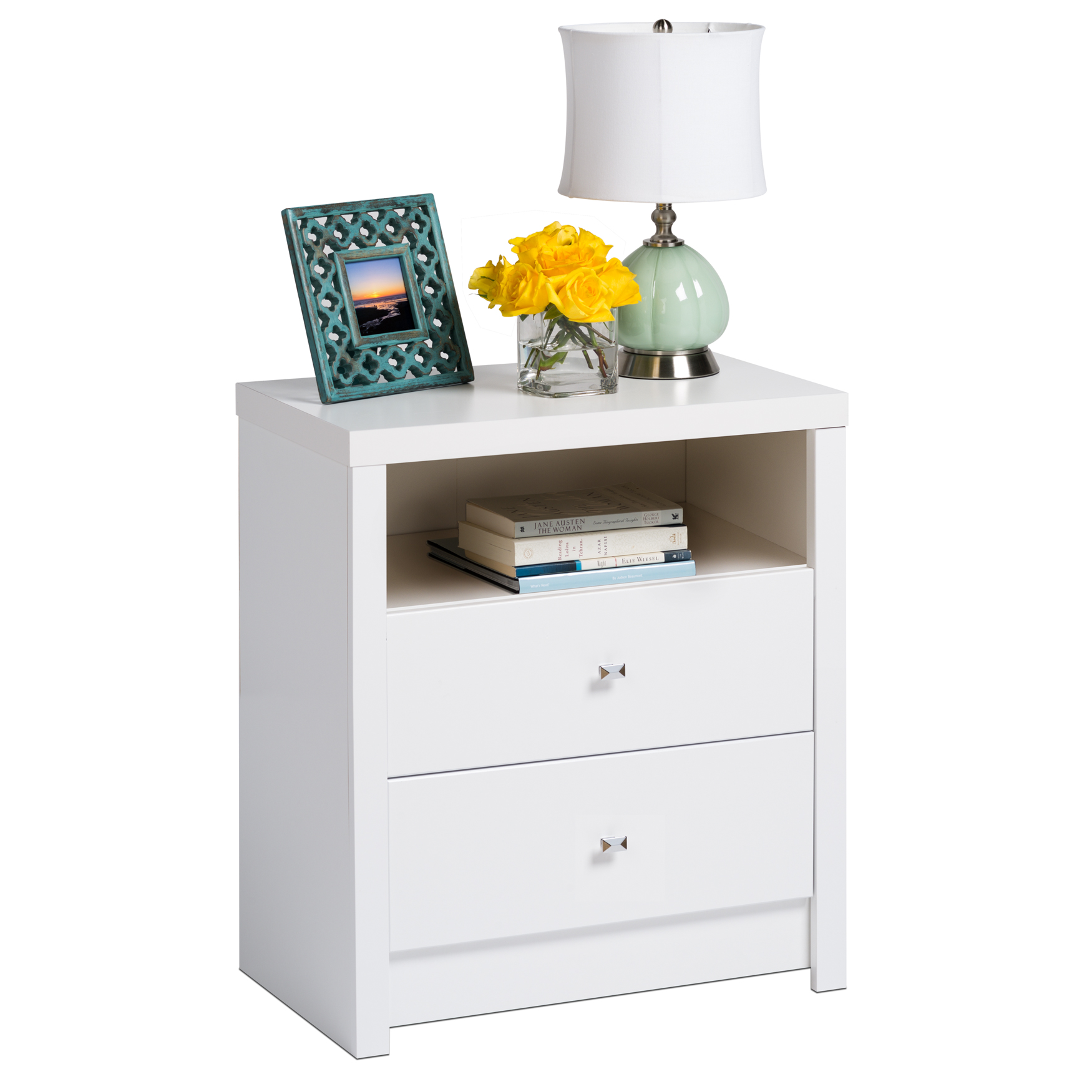Calla Tall 2-Drawer Nightstand , WHITE