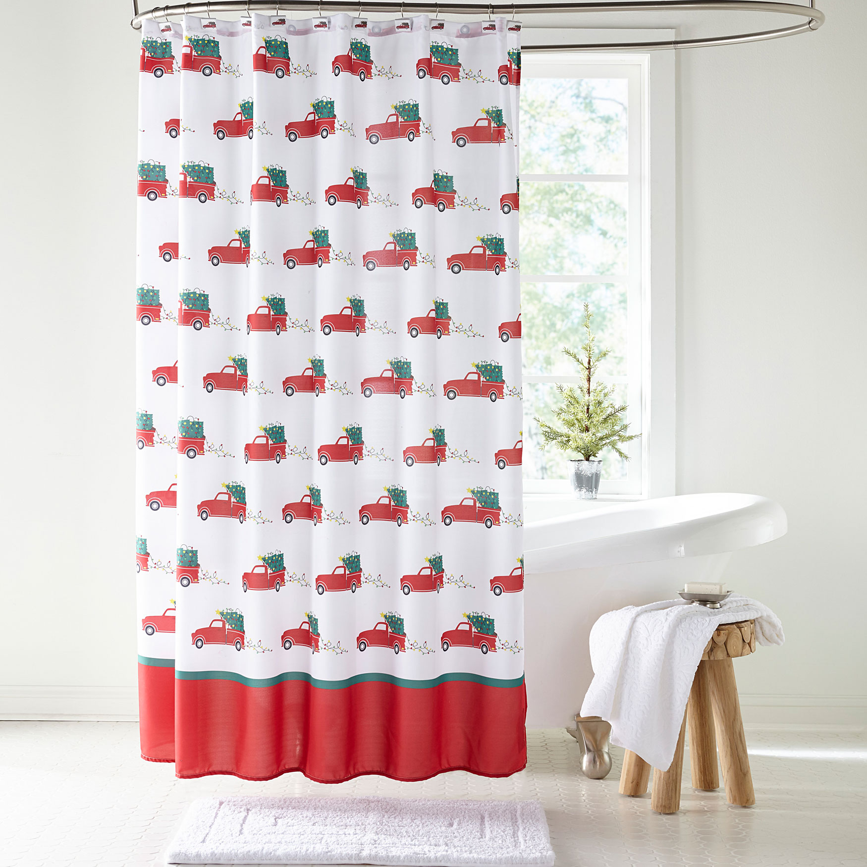 13 Pc Red Truck Holiday Shower Curtain RED TRUCK