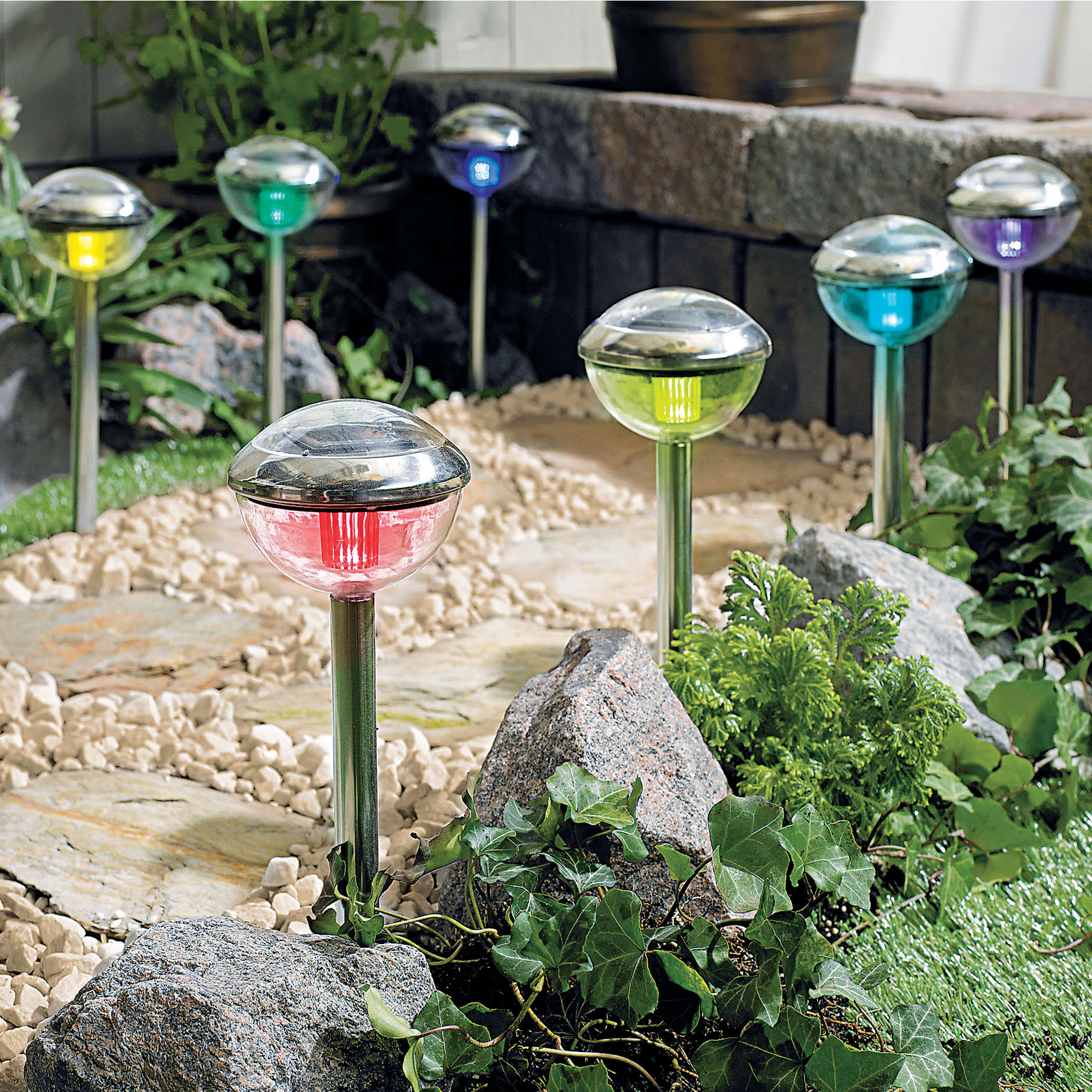 Color Changing Solar Lights, Set of 8, MULTI