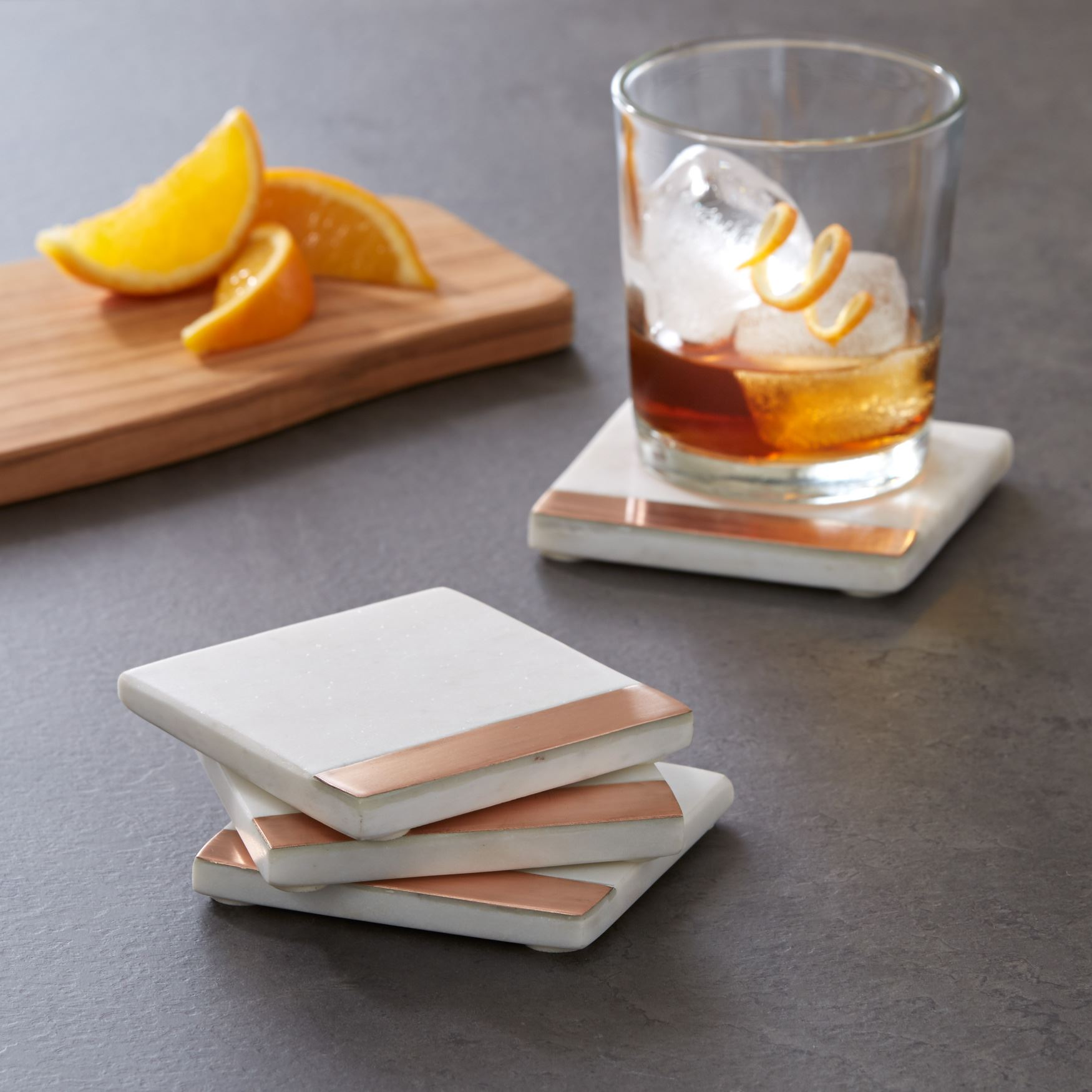 Marble and Copper Coasters, Set of 4, WHITE COPPER