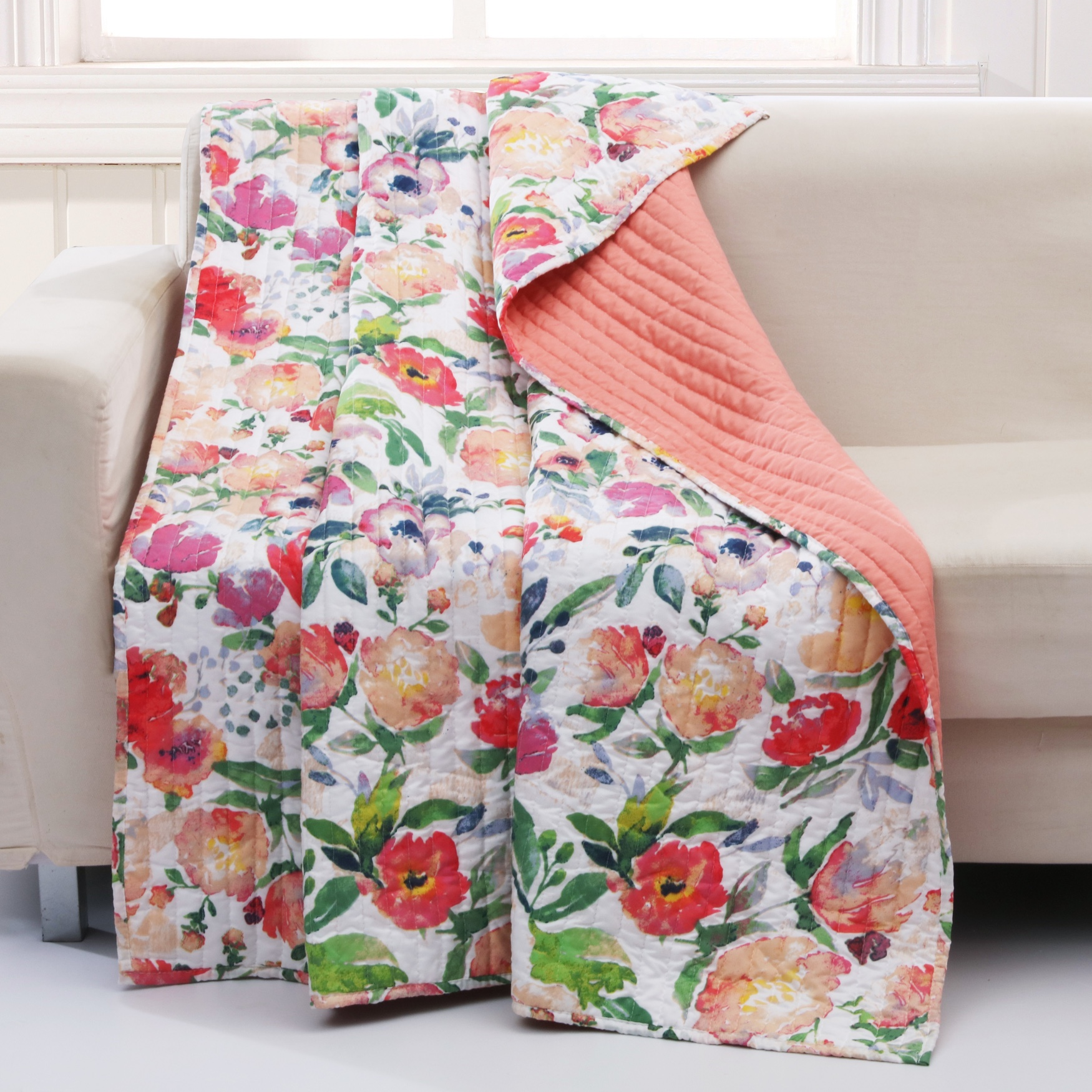 Barefoot Bungalow Blossom Quilted Throw Blanket, MULTI